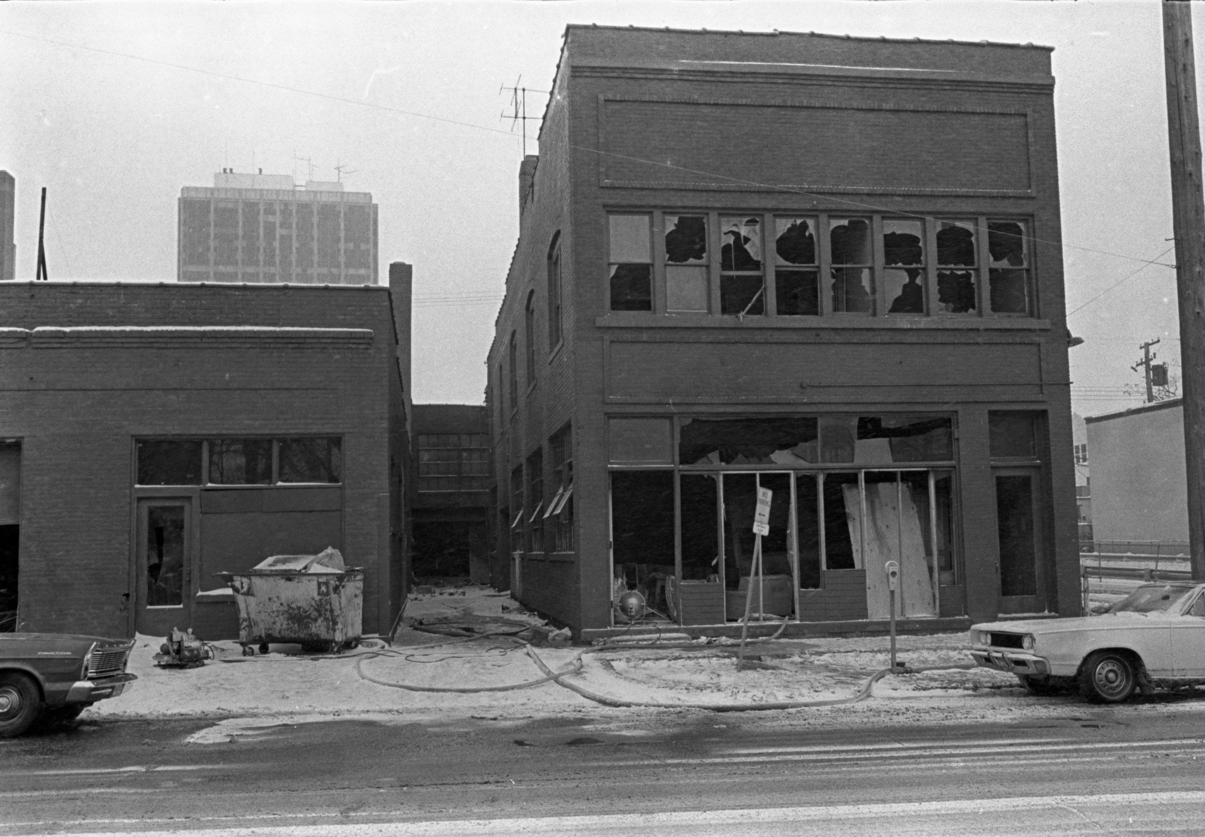 Community Center At 502 E. Washington Exterior After Fire, December 16, 1972 image