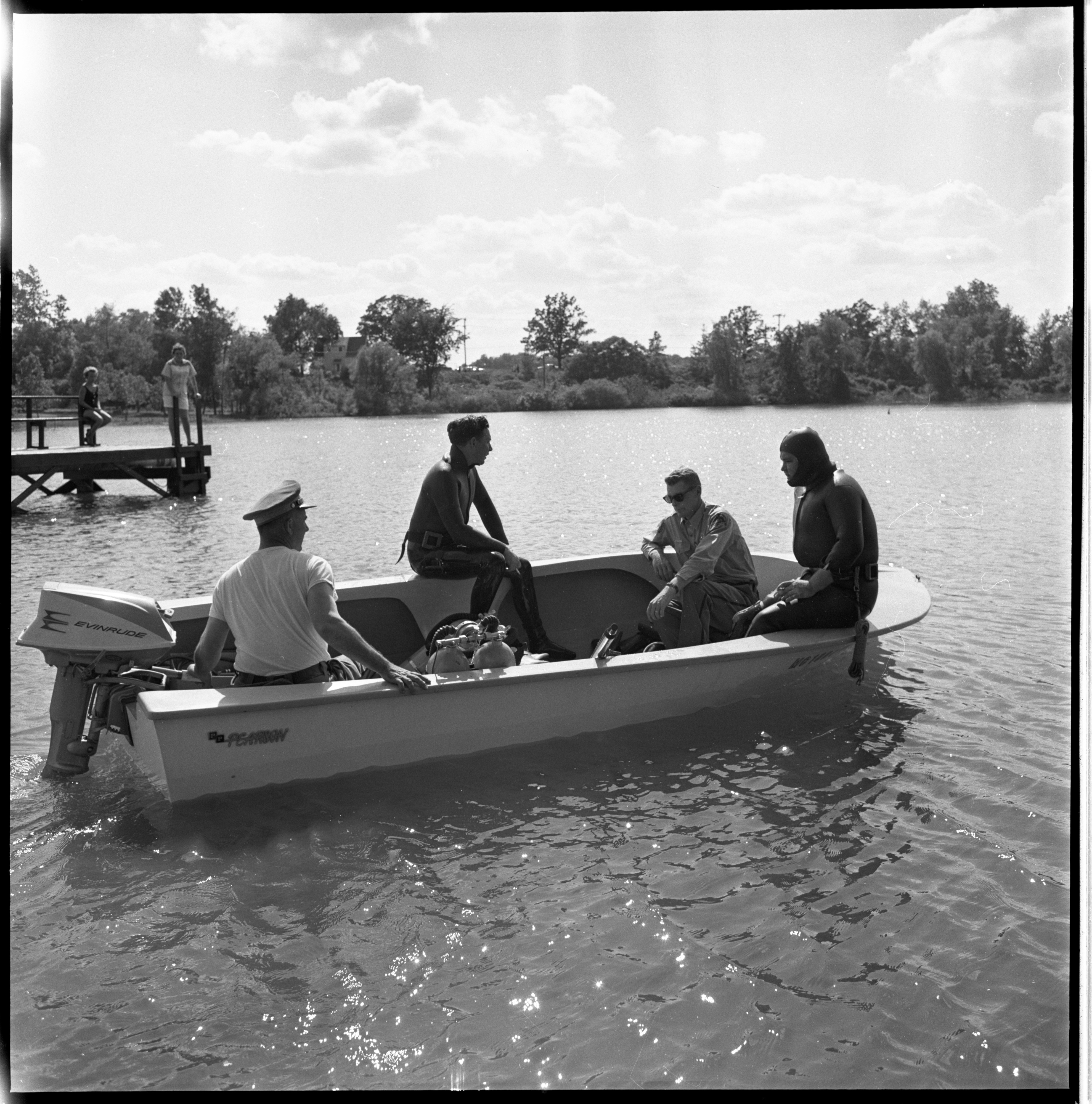 Ann Arbor Police, Sheriff's Deputies, & Local Divers, Search For The Body Of Richard Otto In Second Sister Lake, June 1961 image