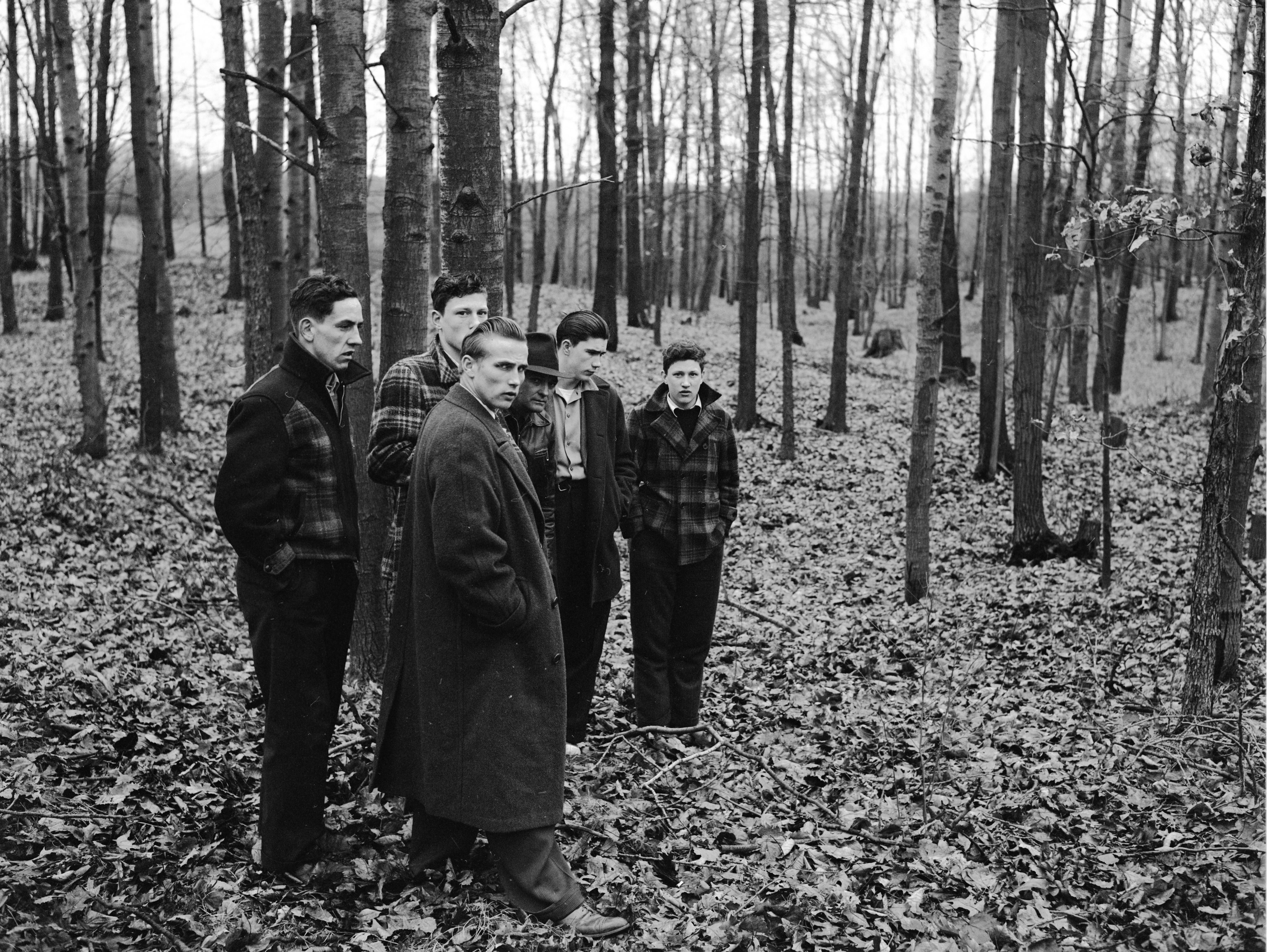 Officers and Witnesses at Oscar Buss Farm Where Burned Body of Orville F. Wurster Was Found, March 1942 image