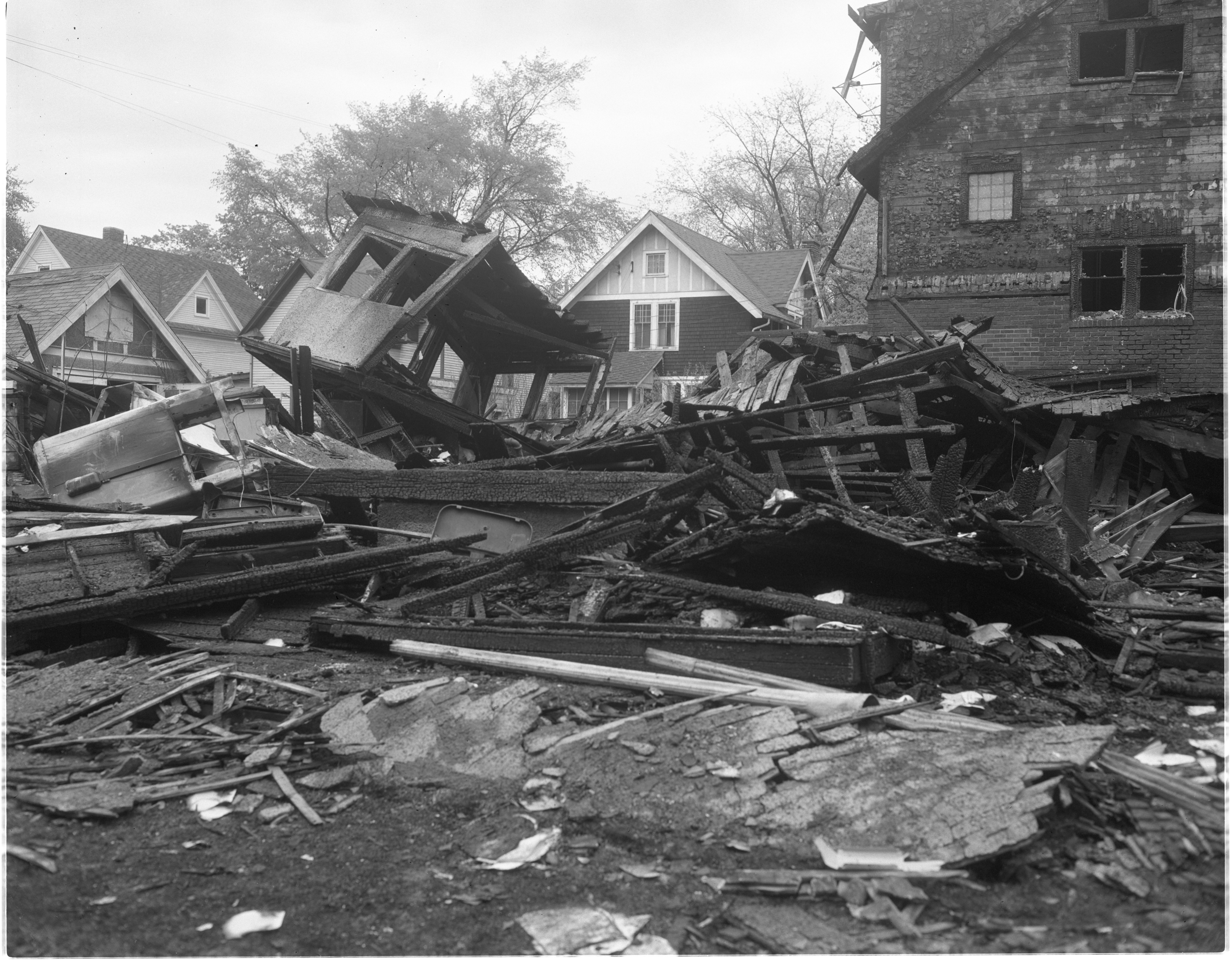 Remains Of The Guthe Home At 845 Brookwood Place After A Gas Explosion During The Windstorm, May 1959 image