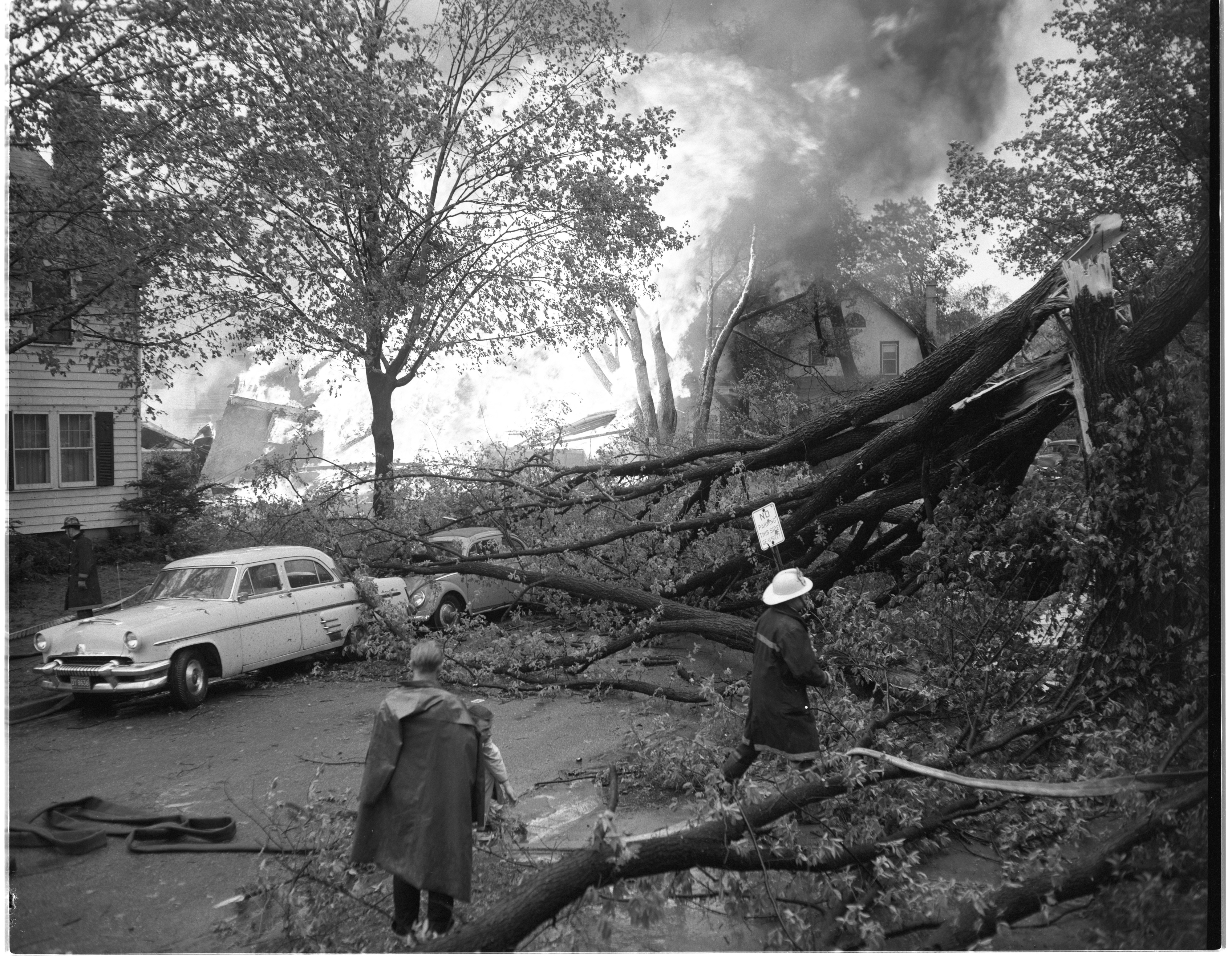 The Guthe Home At 845 Brookwood Place Burns After A Gas Explosion During The Windstorm, May 1959 image