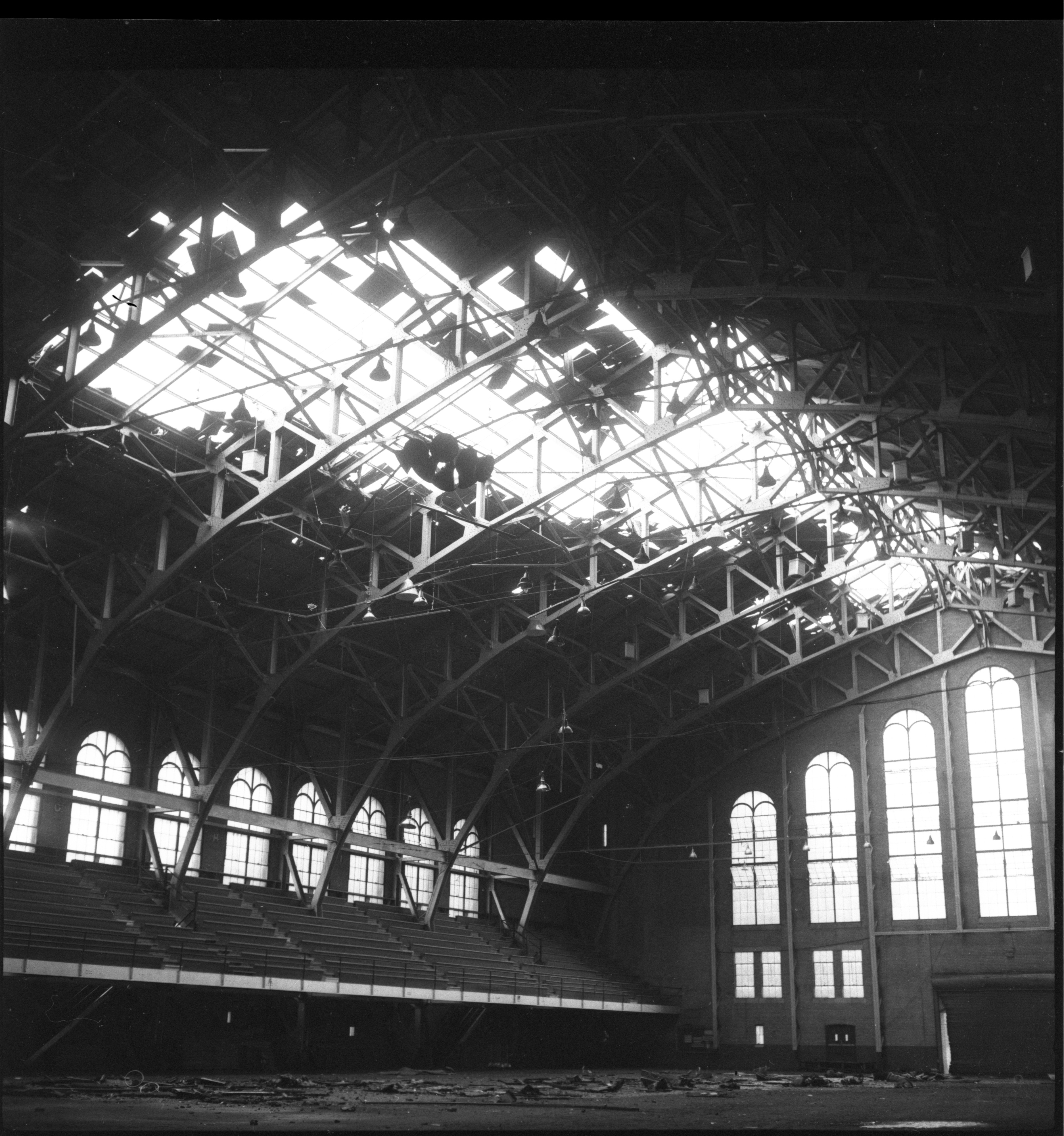 Yost Field House Roof Ripped Off By Windstorm, May 1959 image