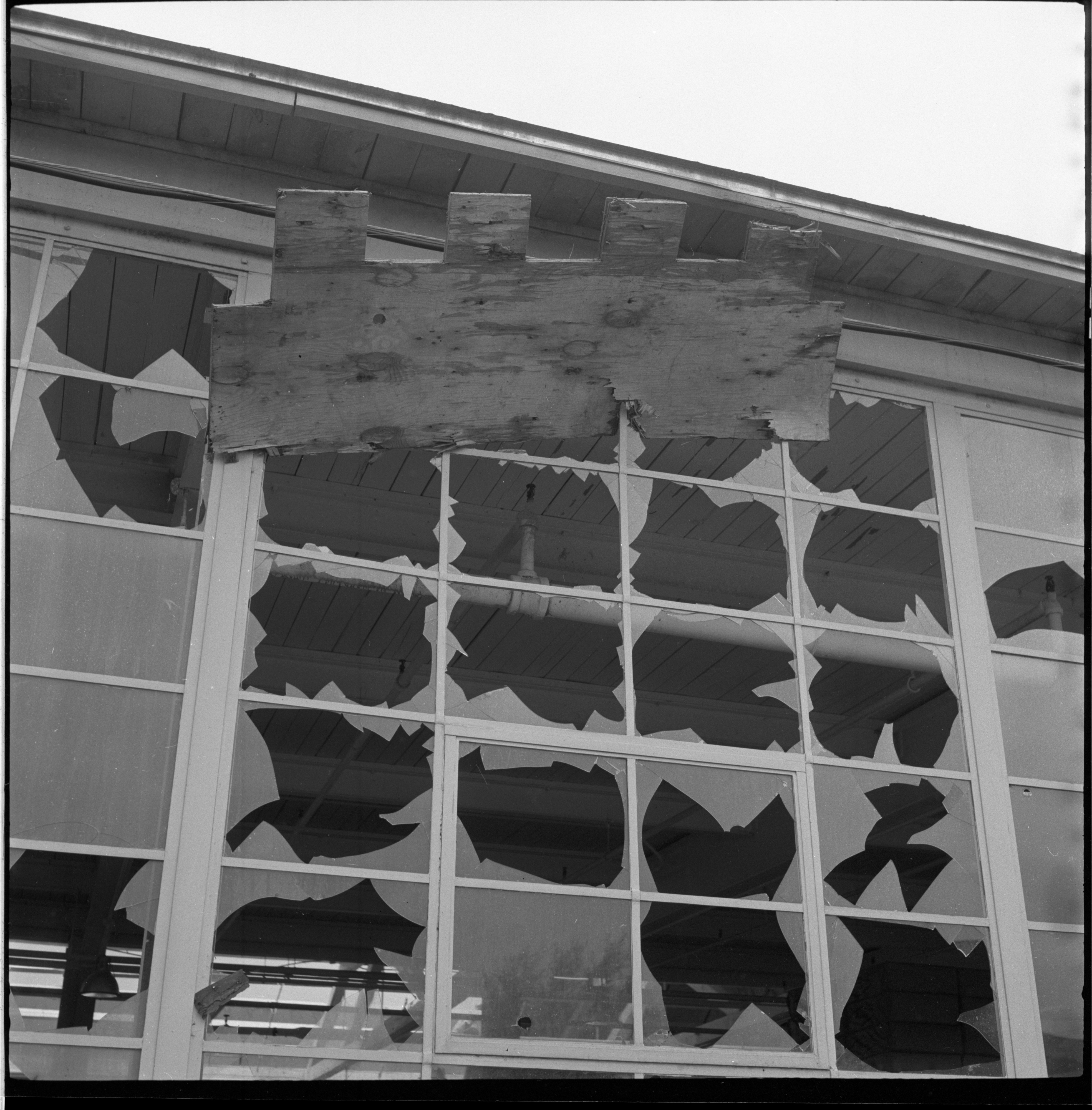 Window Panes Of Glass Shattered By Windstorm, May 1959 image