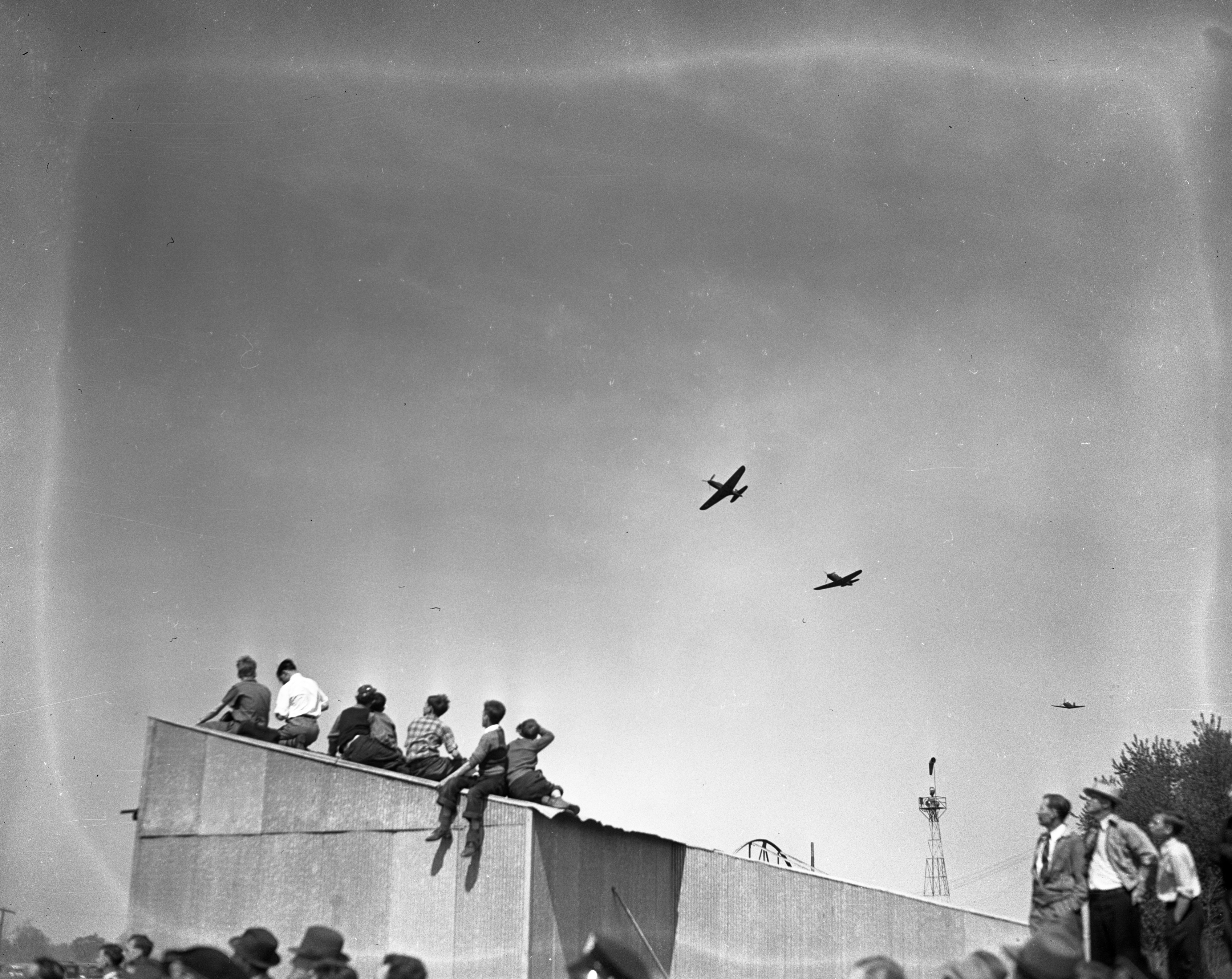 Crowd watching Army Planes (Airacobras), Ann Arbor Airport, 1941 image