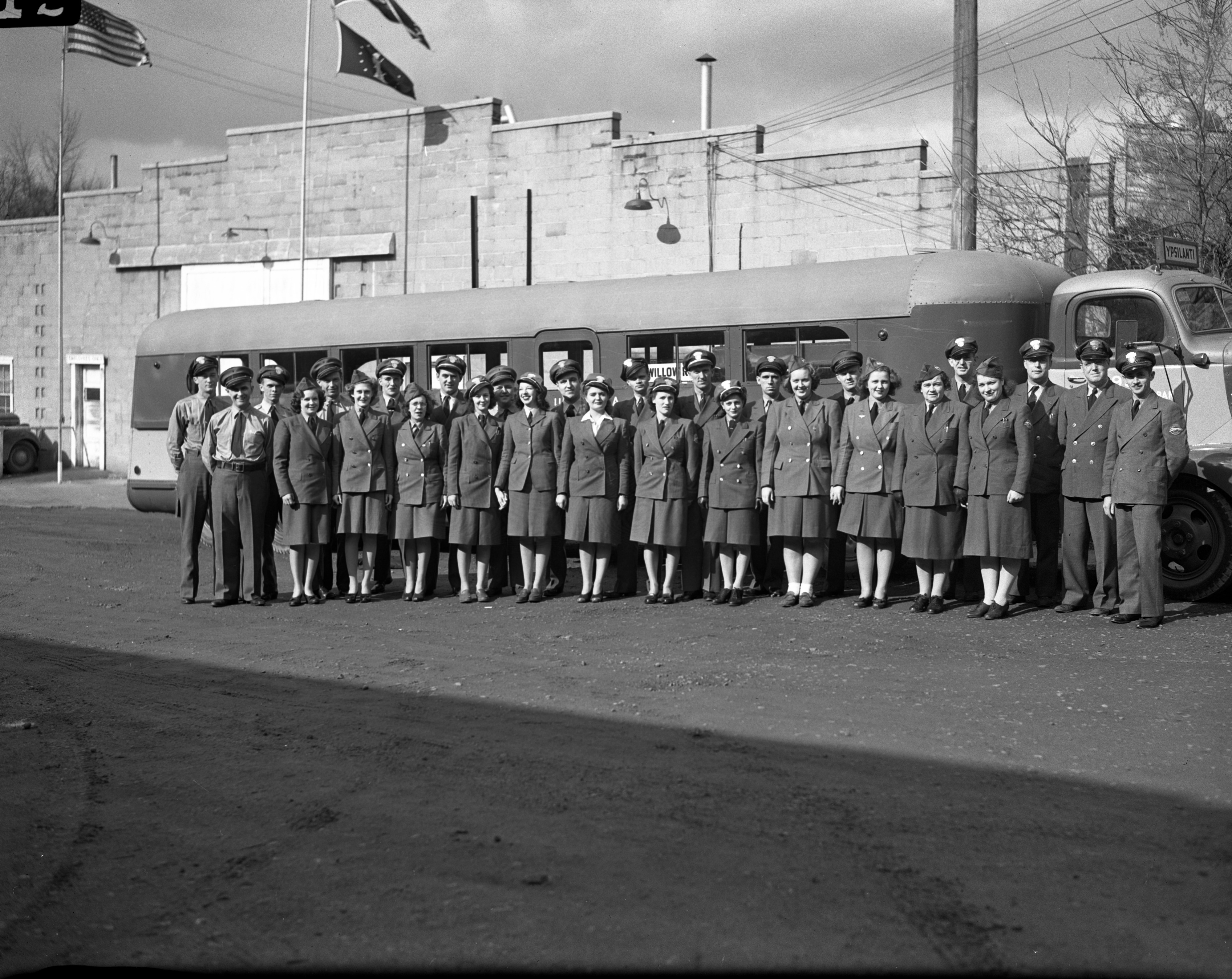 Women Bus Drivers Join Ranks of Greyhound Drivers To Willow Run Bomber Plant, November 1943 image