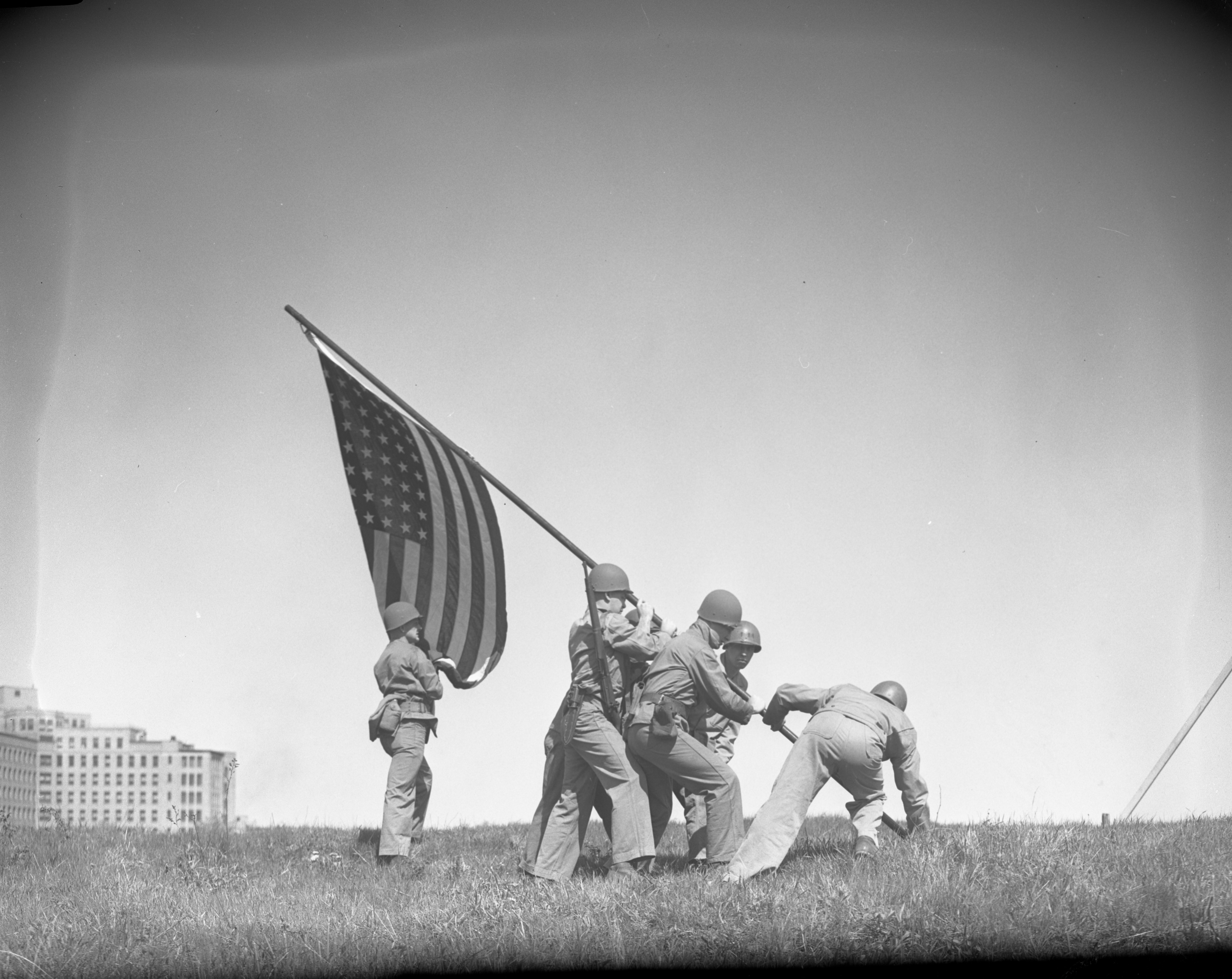 Marines simulate Iwo Jima flag raising for 7th War Loan drive, May 1945 image