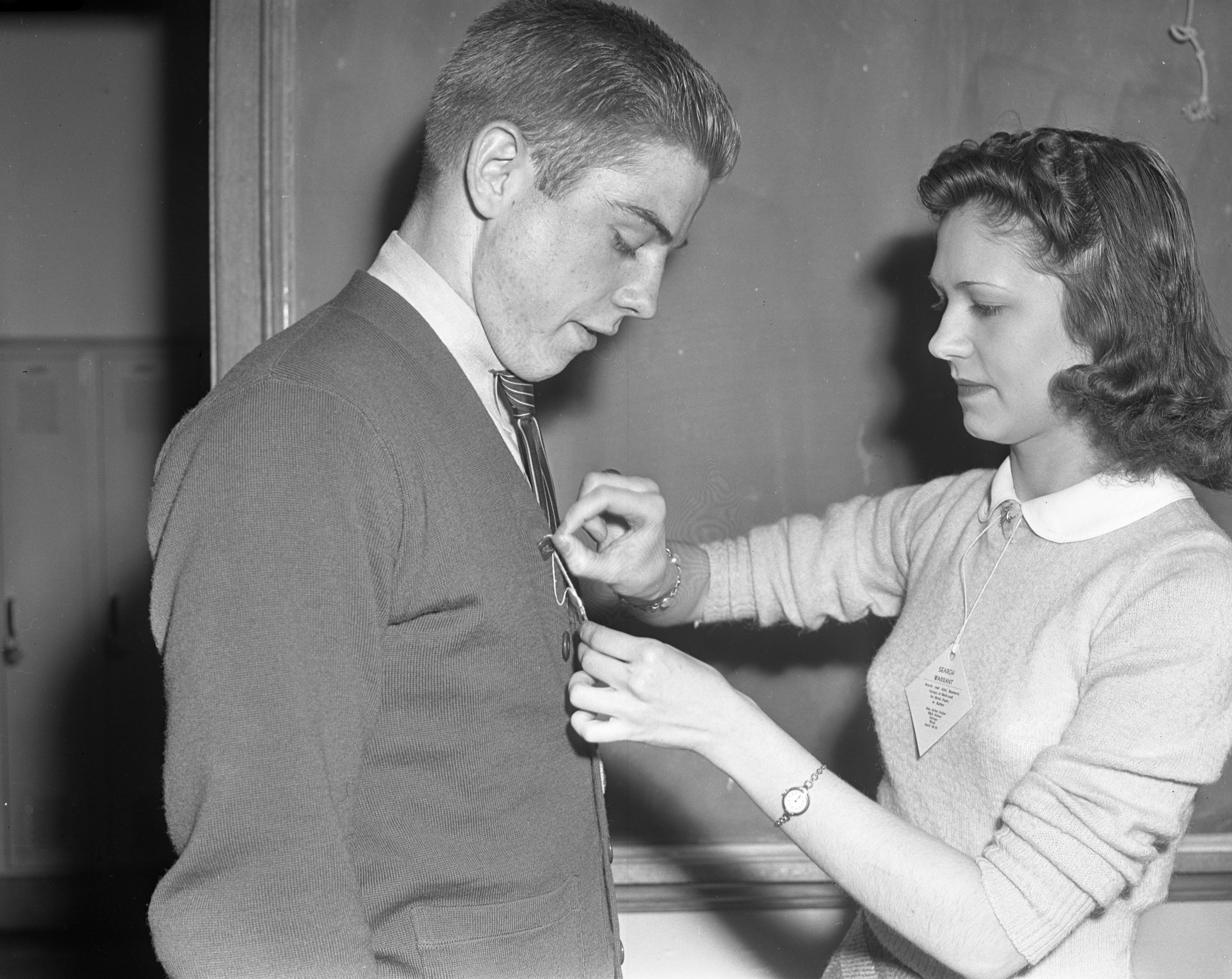 Helen Passow and Clarence Kollewehr, Ann Arbor High School students, during Salvage Week, April 1942 image