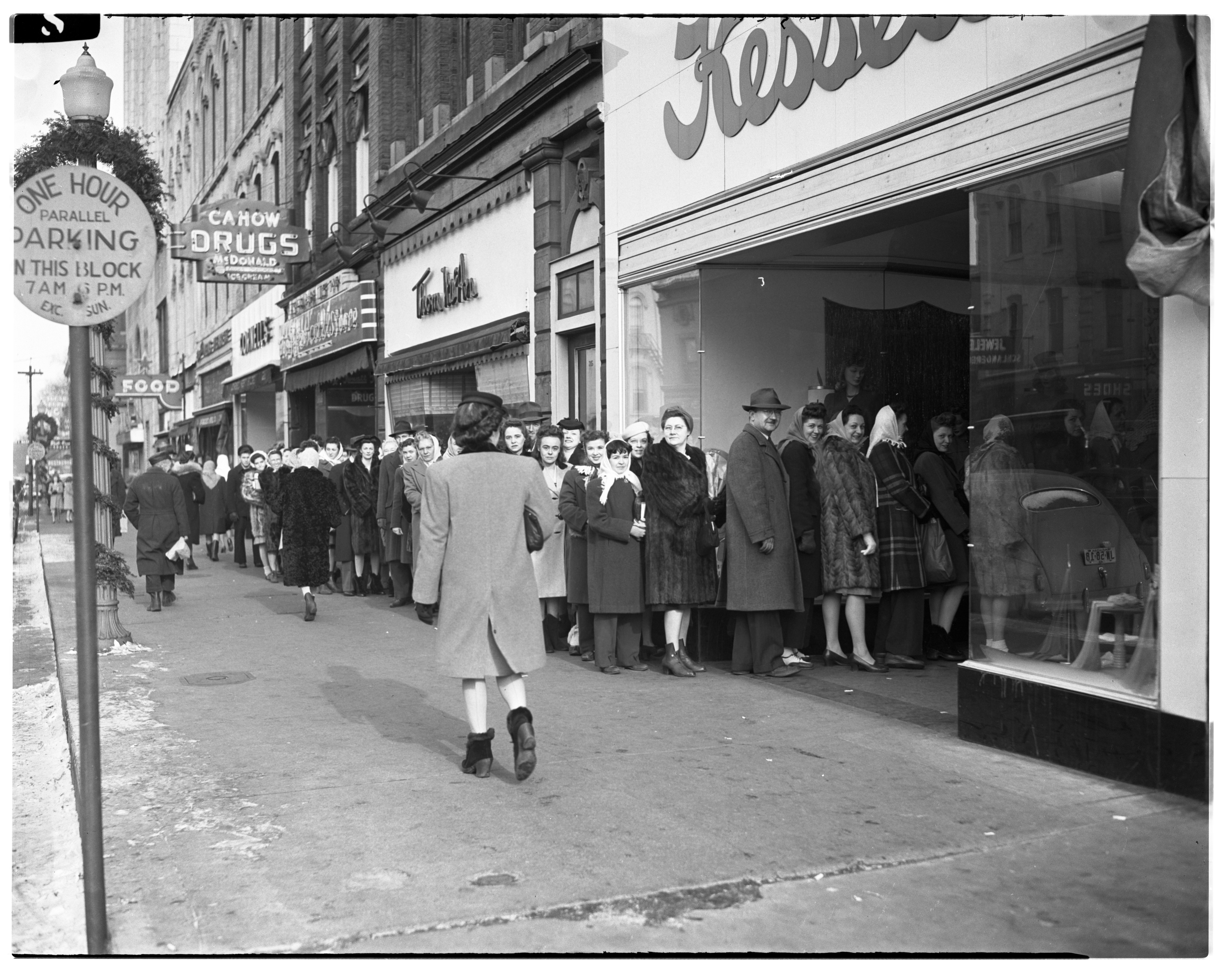Lining Up To Buy Nylons, December 1945 image