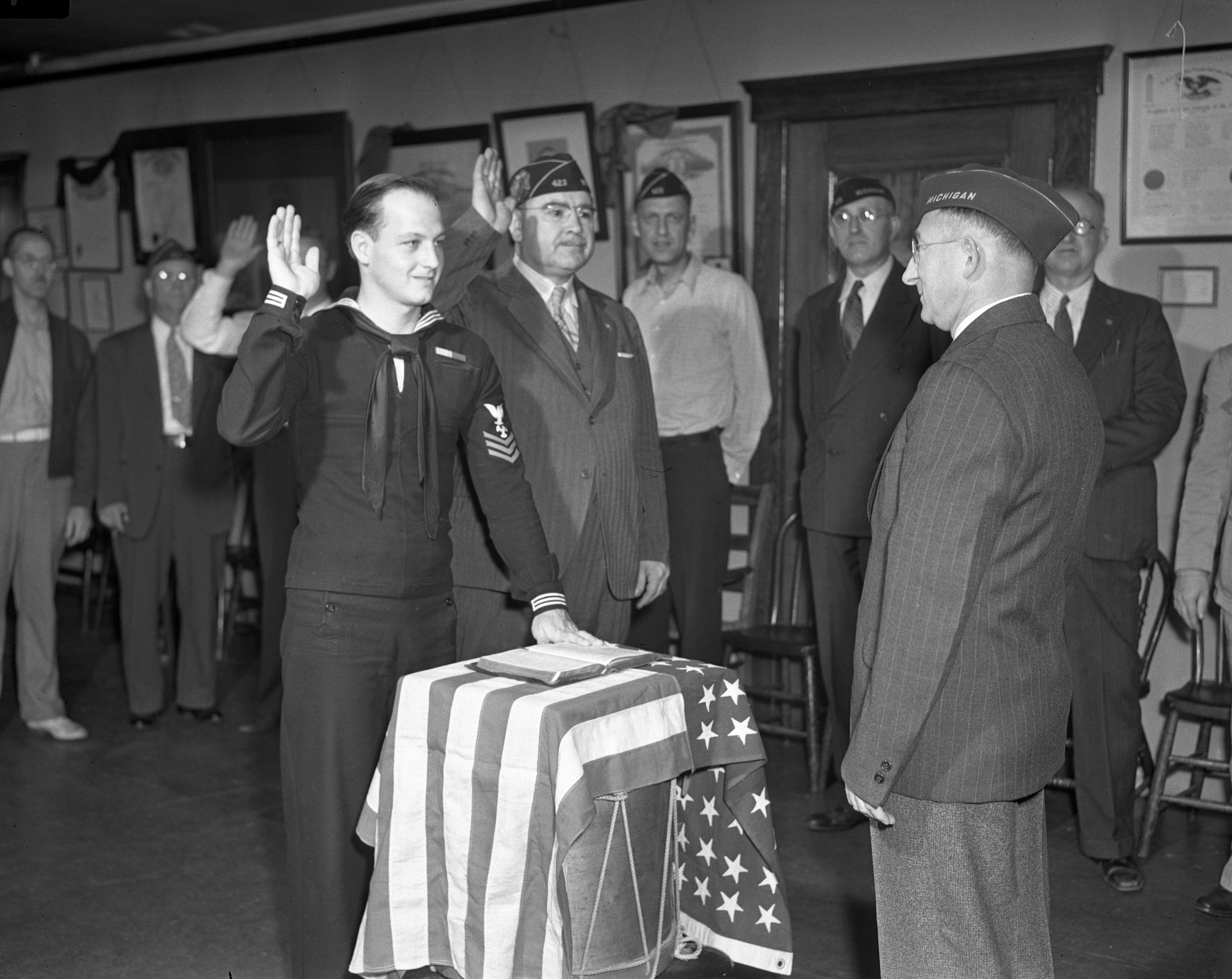 Petty Officer Fred R. Hough, First WWII veteran member of Graf O'Hara VFW post, June 1942 image