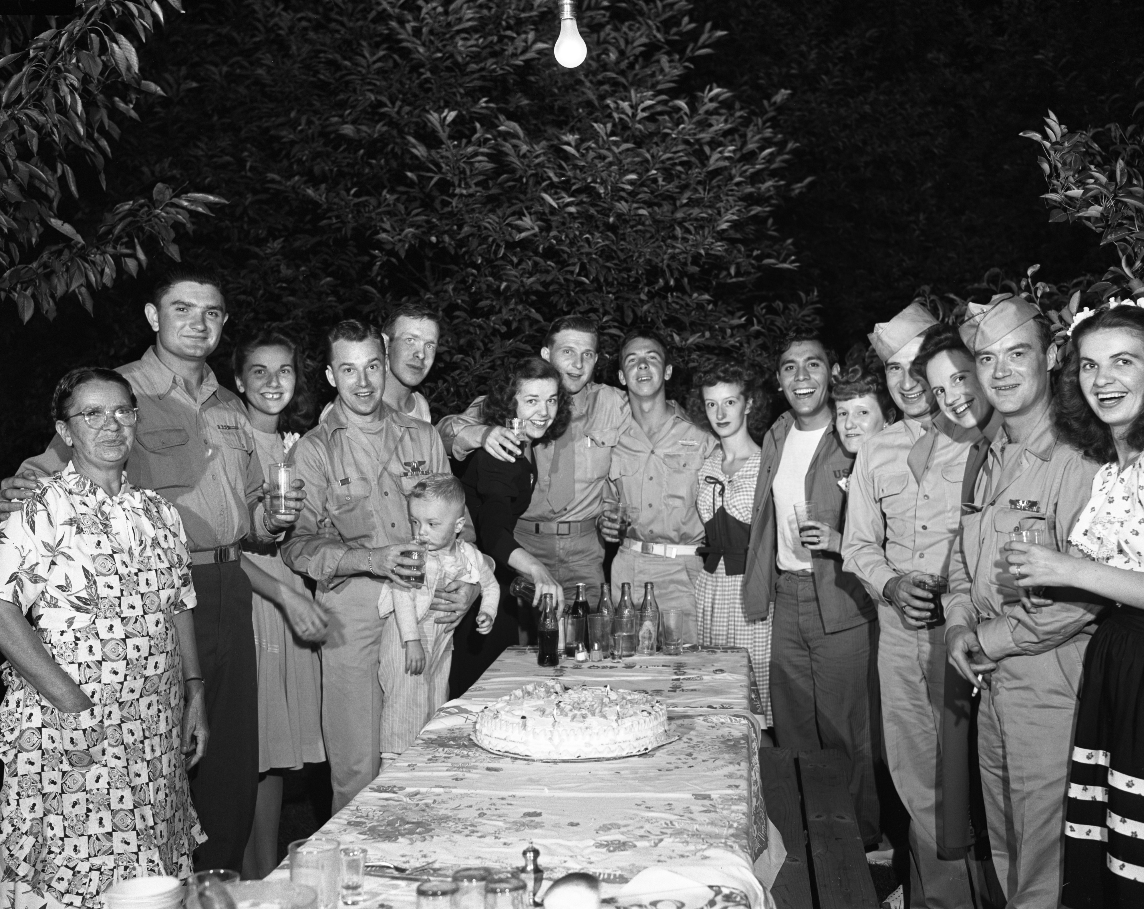 Anna Hedledsky's party for WWII soldiers, August 1945 image