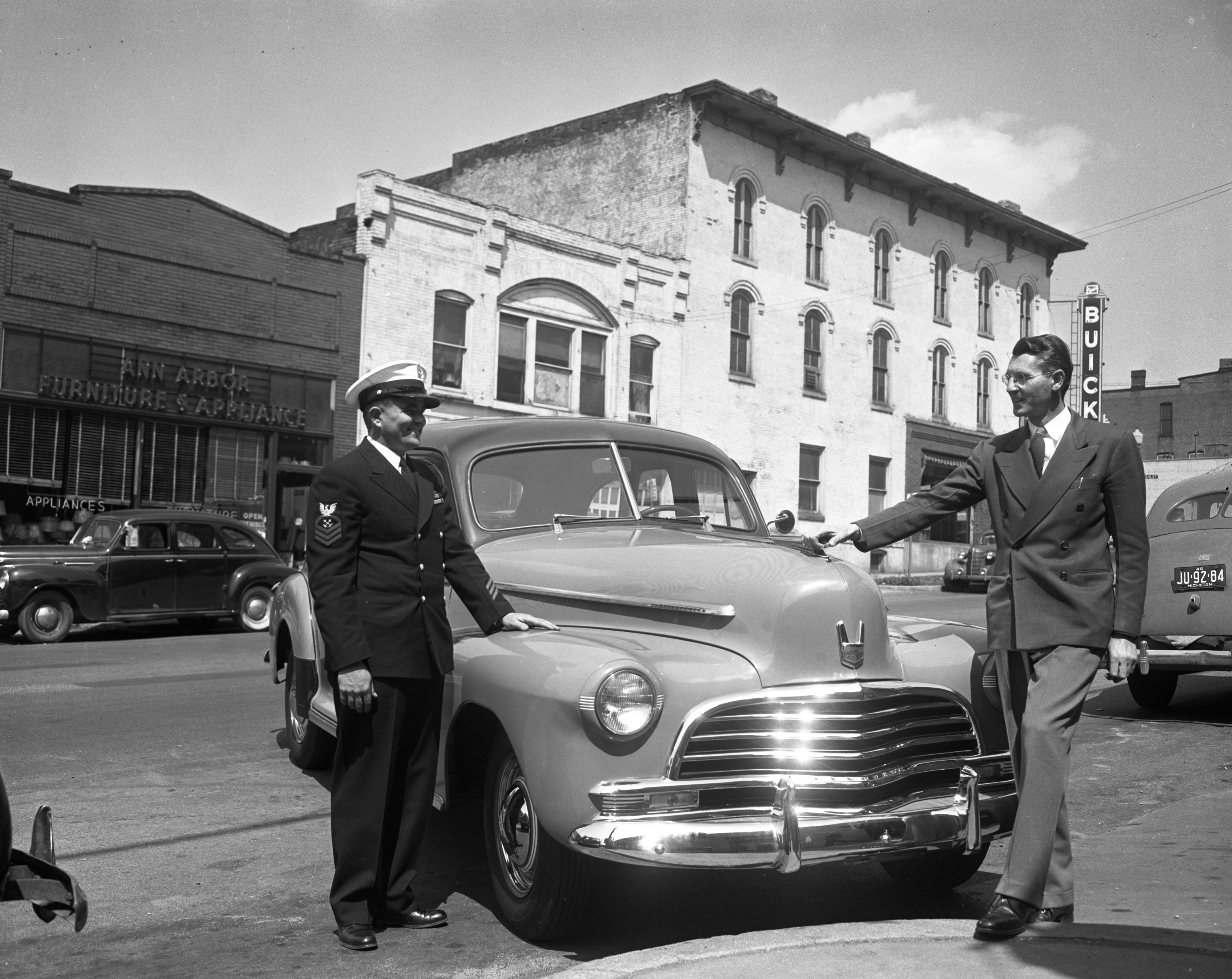 Veteran gets first Chevrolet delivered in Ann Arbor, circa 1946 image