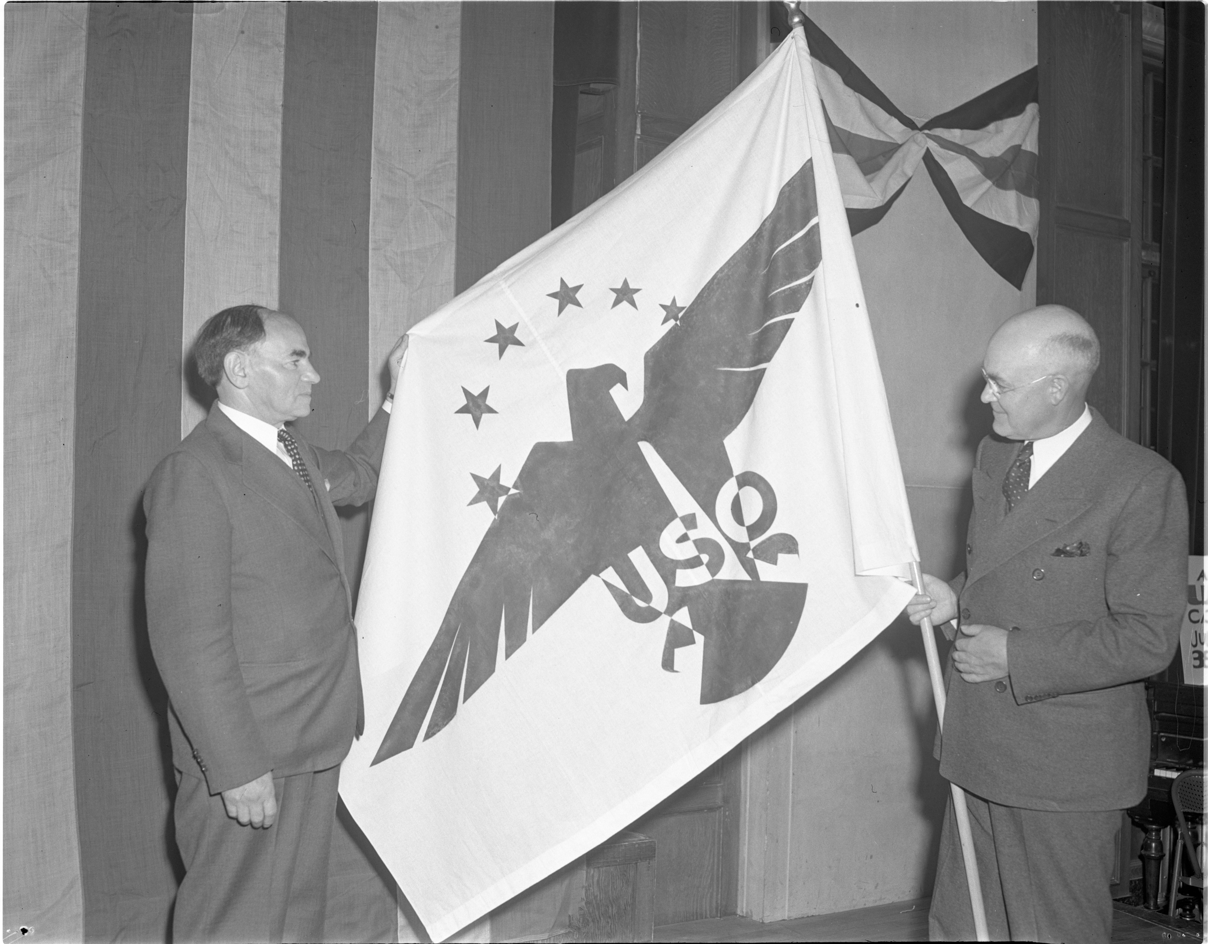 John Finlayson Receives USO Flag From Osias Zwerdling, June 1941 image