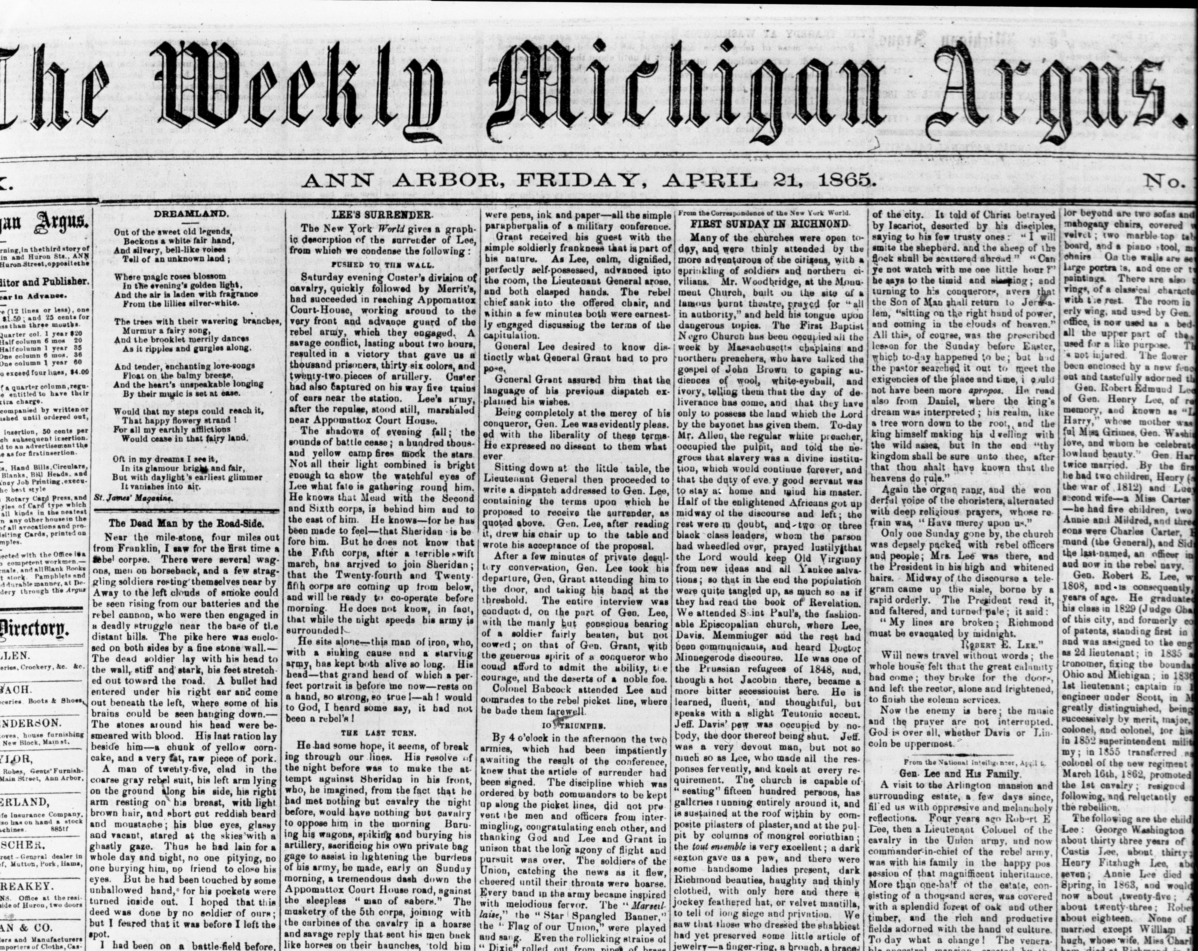 Front page of the April 21, 1865 issue of the Weekly Michigan Argus with article about Gen. Robert E. Lee's surrender at Appomattox, October 1966 image