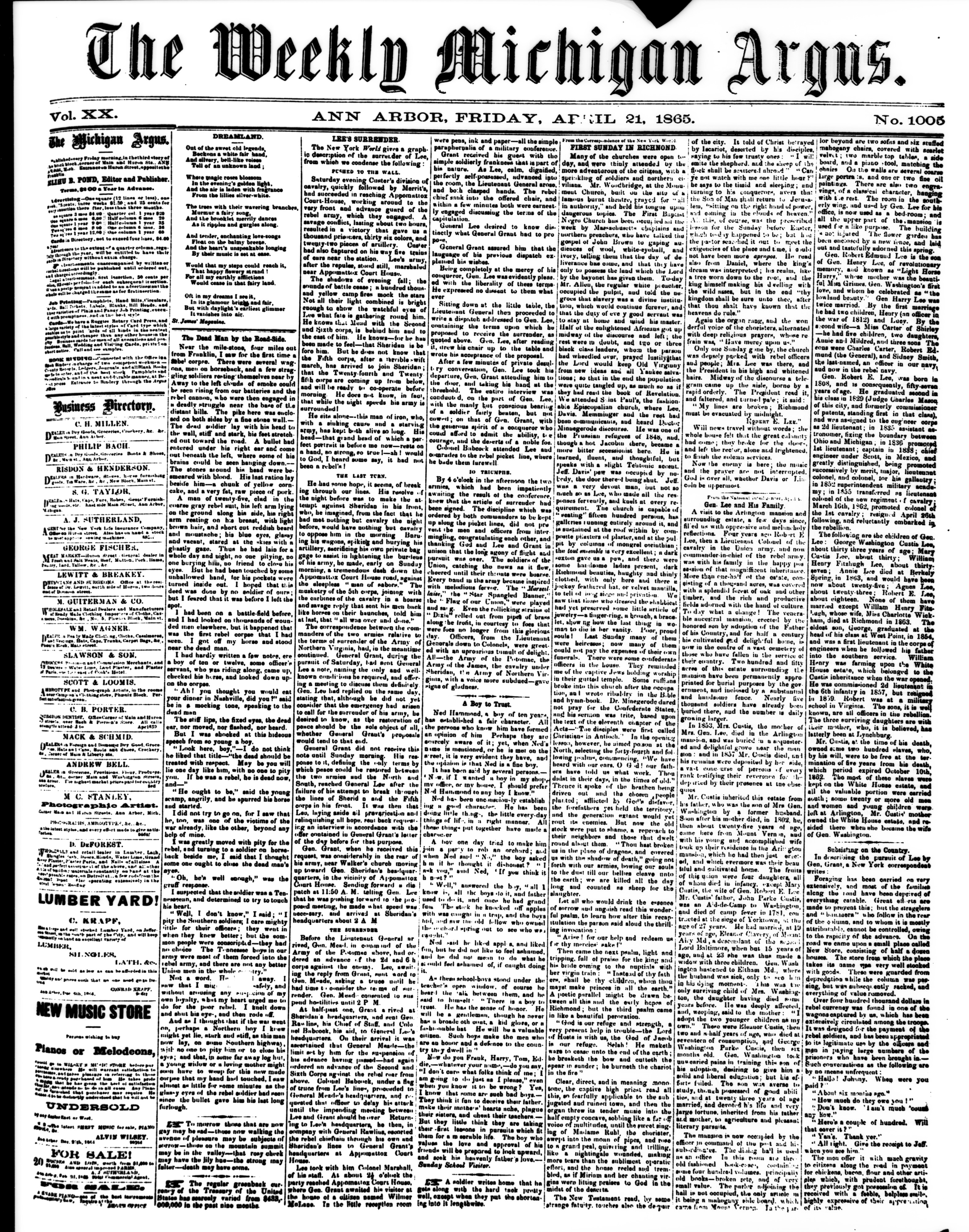 Full front page of April 21, 1865 issue of the Weekly Michigan Argus, October 1966 image