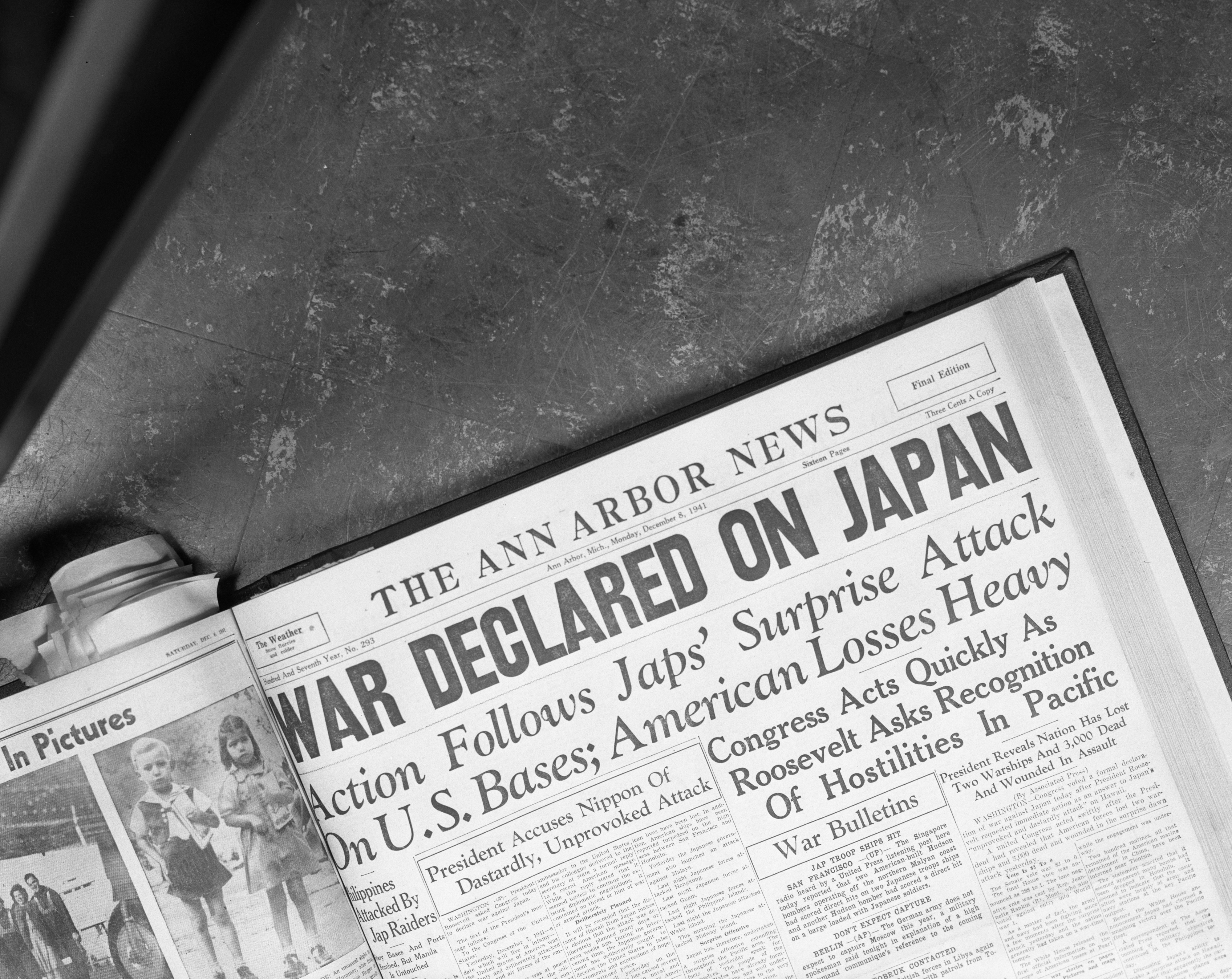 Front page of the December 8, 1941 issue of the Ann Arbor News with headline about Pearl Harbor, October 1966 image
