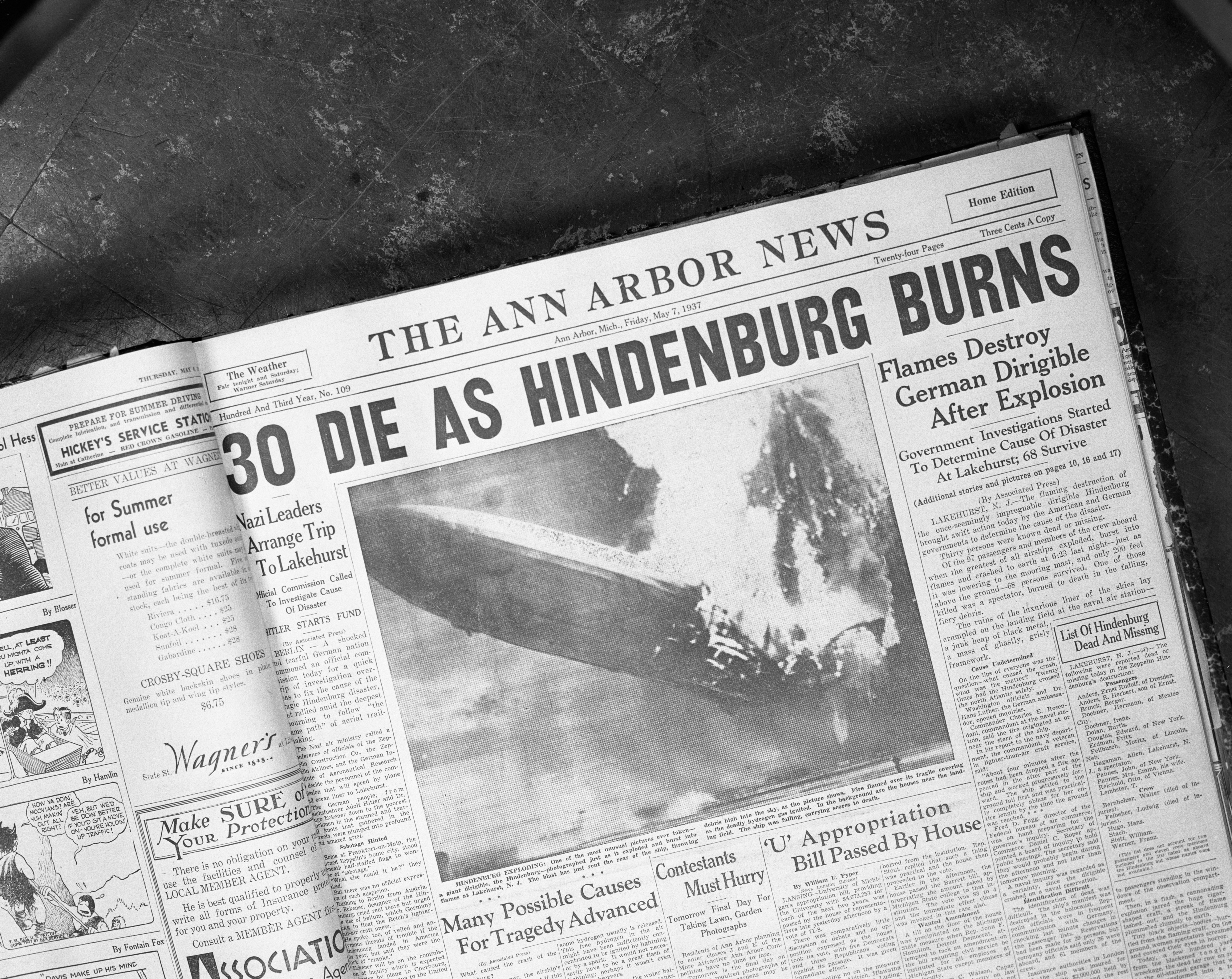 Front page of the May 7, 1937 issue of the Ann Arbor News featuring headline on Hindenburg disaster, October 1966 image
