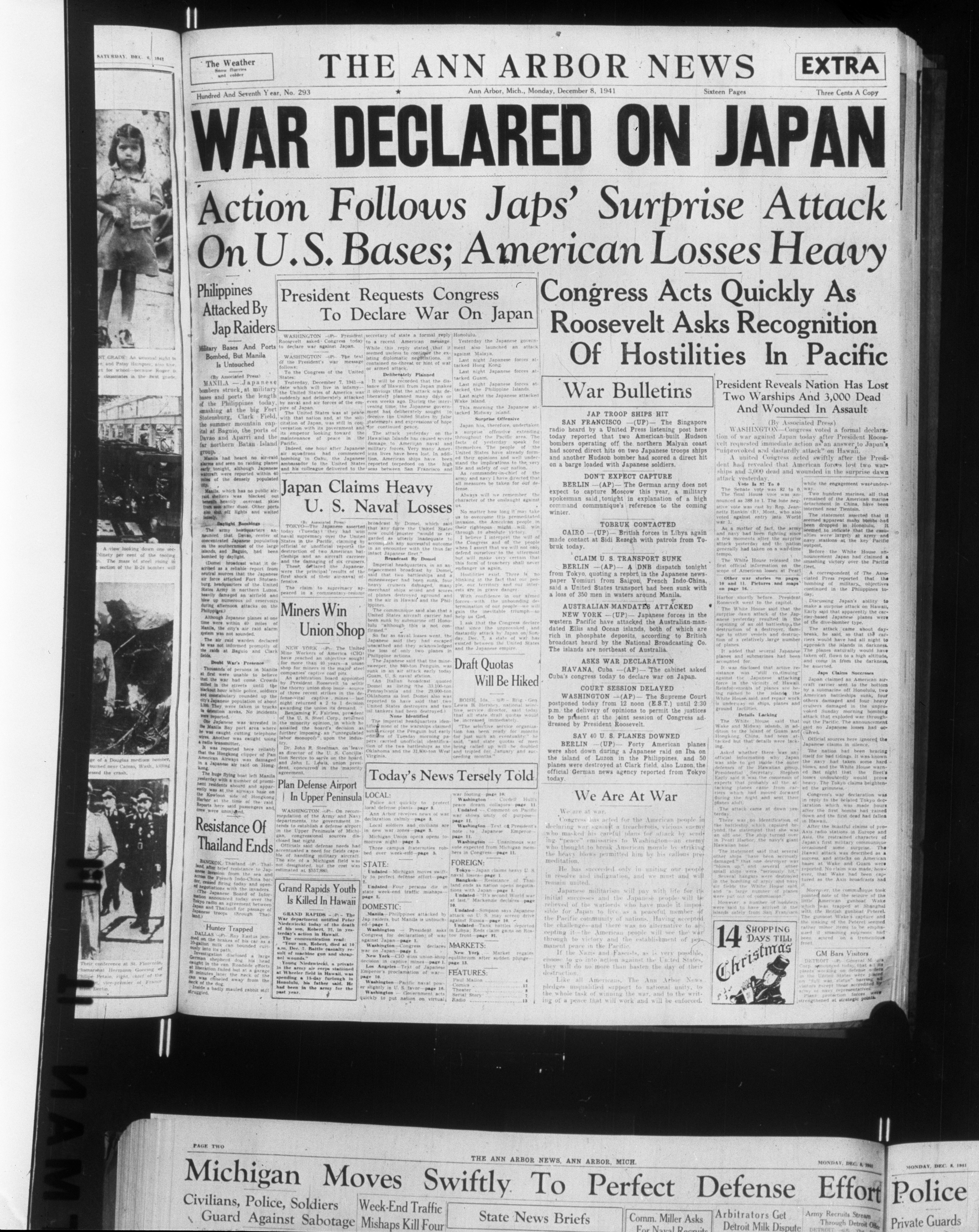 Photograph of front page of December 8, 1941 issue of the Ann Arbor News, December 1942 image