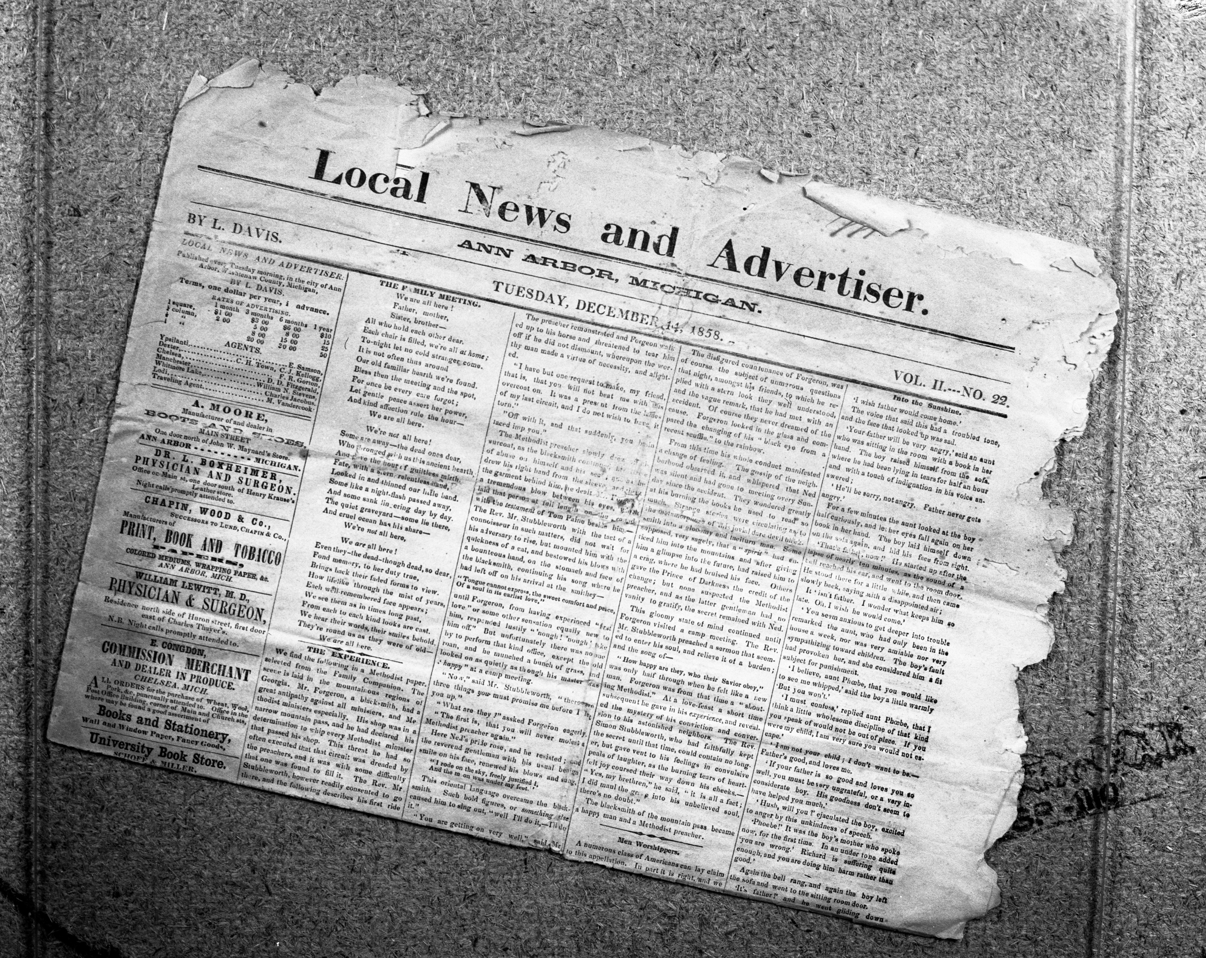 Photograph of Page 1 of an 1858 issue of the Local News and Advertiser newspaper, December 1958 image