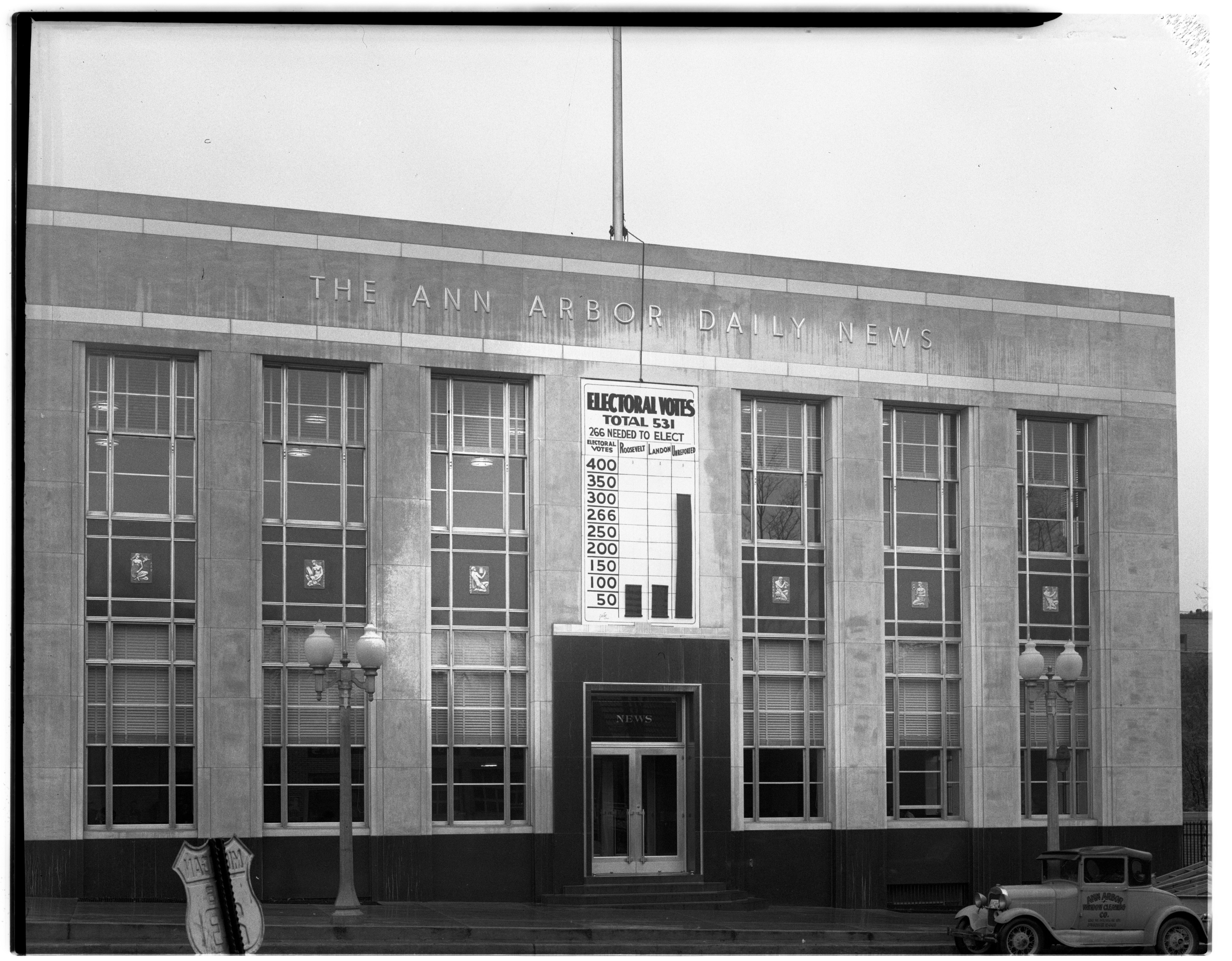 Ann Arbor News Building's Electoral Thermometer, November 1936 image