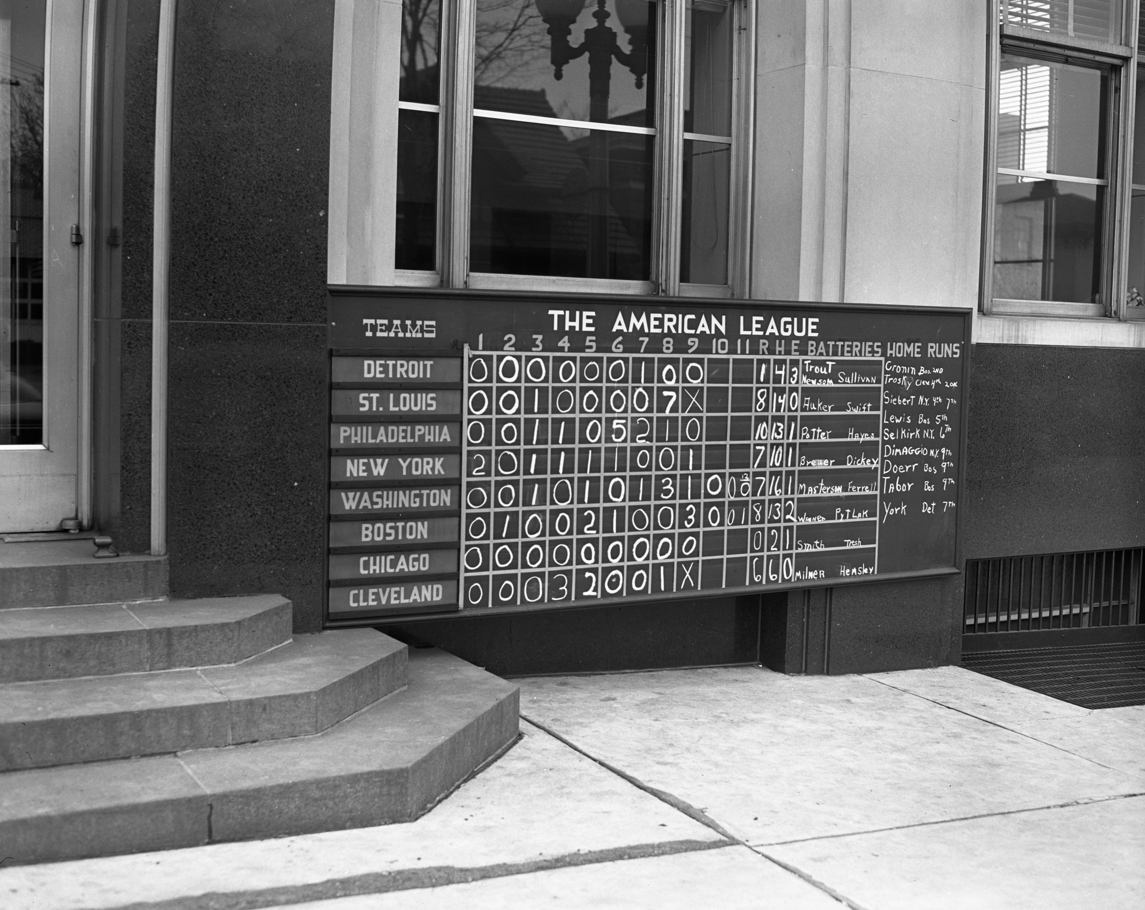 Baseball Scoreboard at the Ann Arbor News, 1941 image