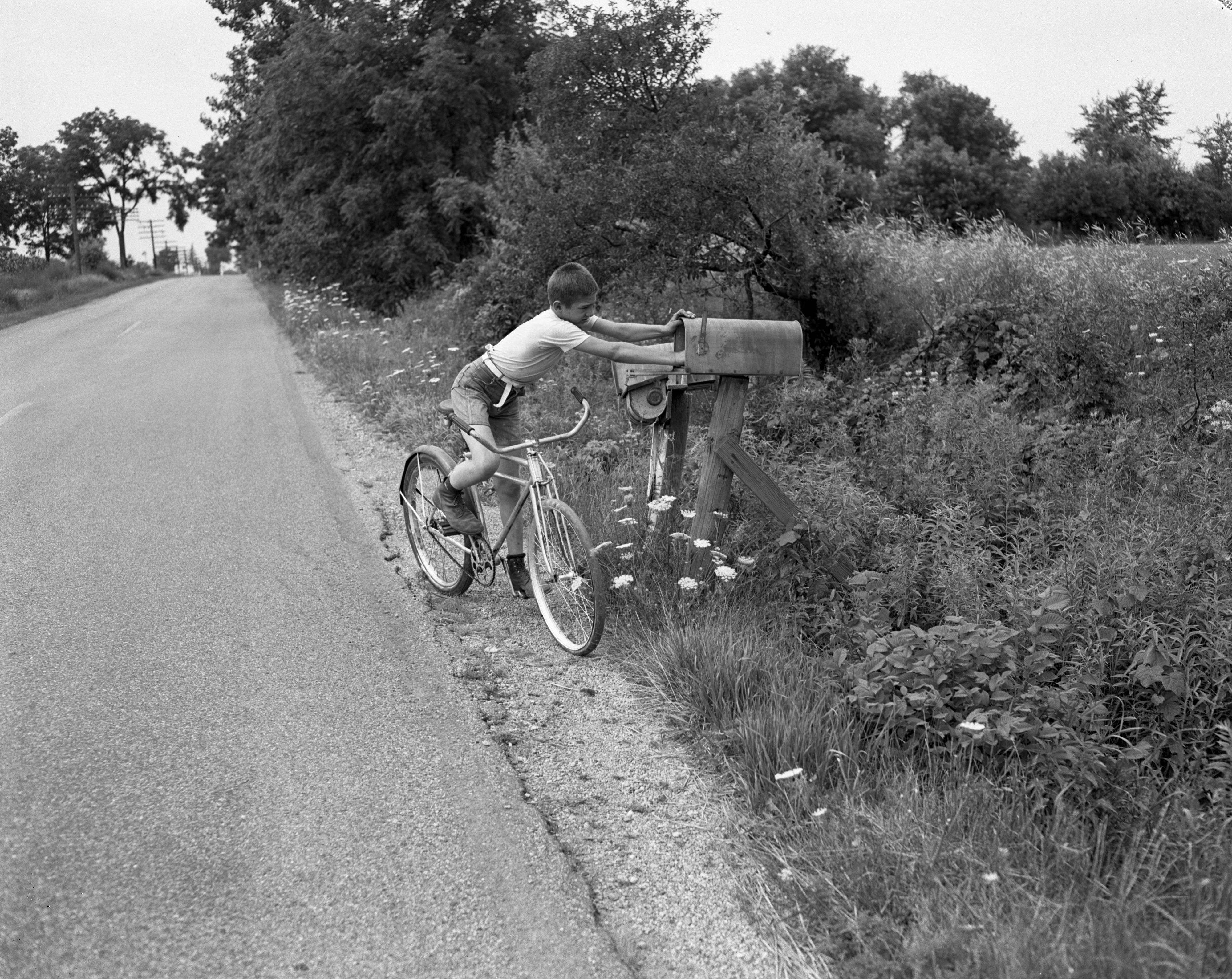 Dale Schultz at his family's mailbox, July 1954 image