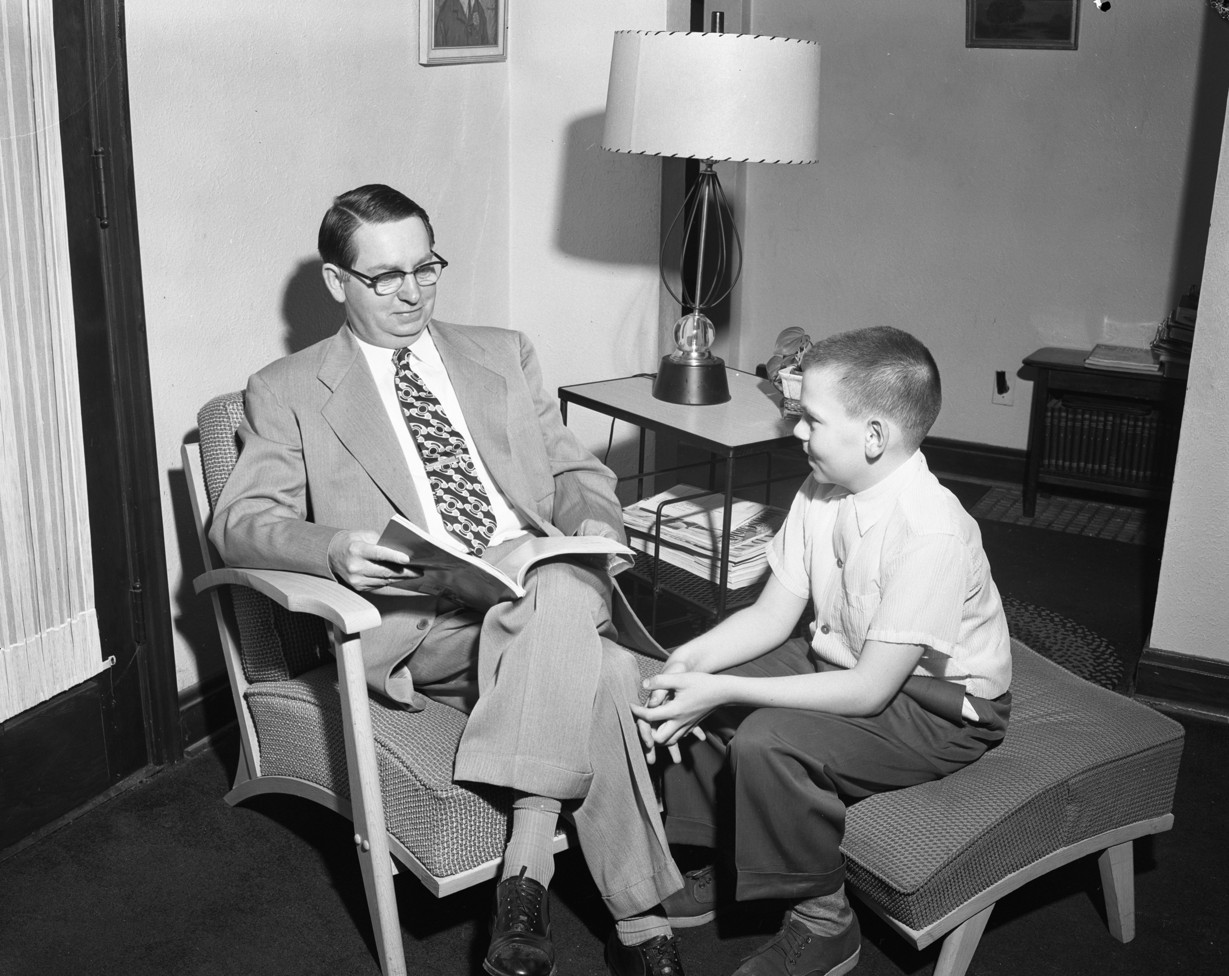 "Richard Tobias, winner of the ""Why I Like My Dad"" essay contest, June 1955 image"