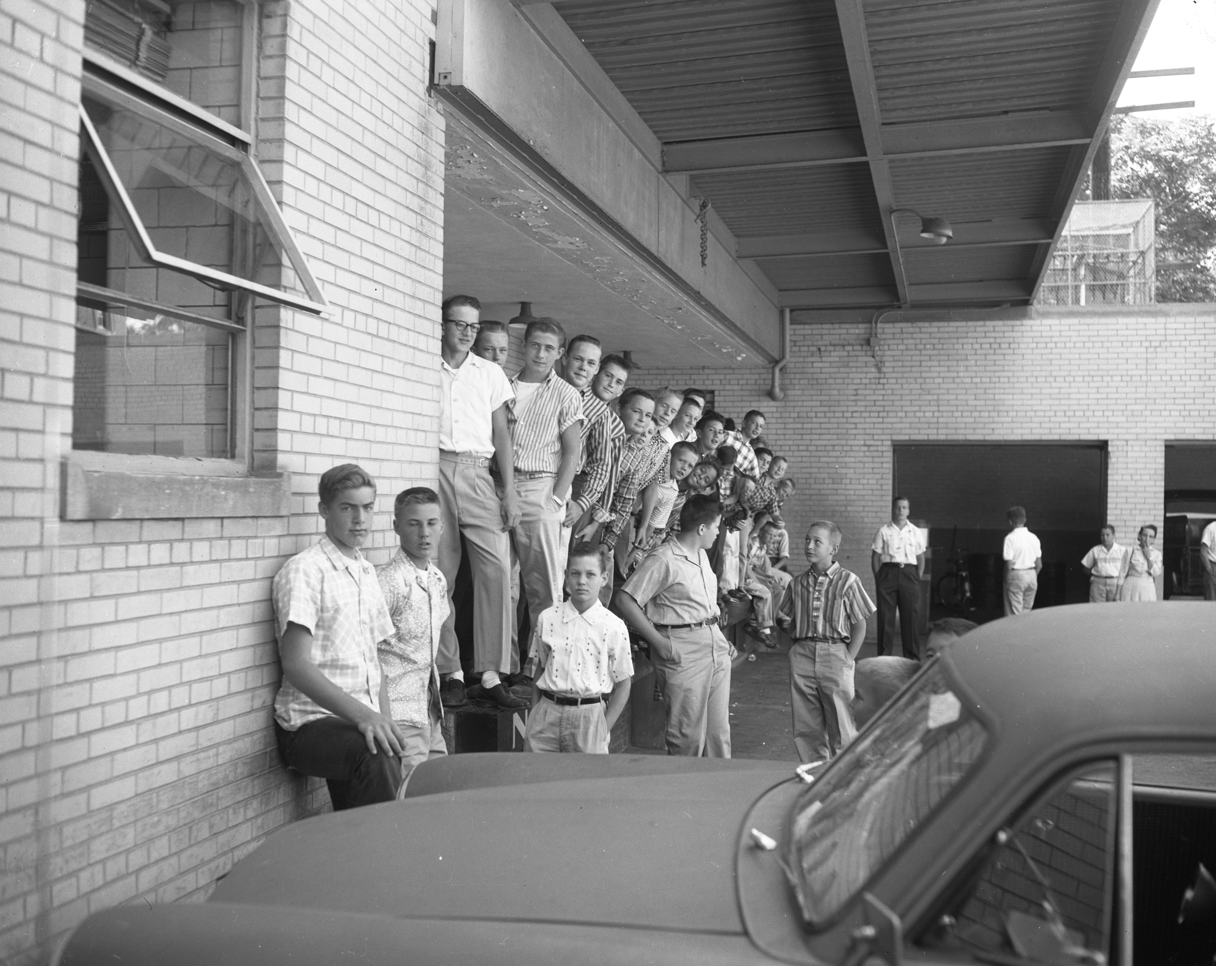 Ann Arbor Newsboys are ready to attend baseball game in Detroit, August 1957 image