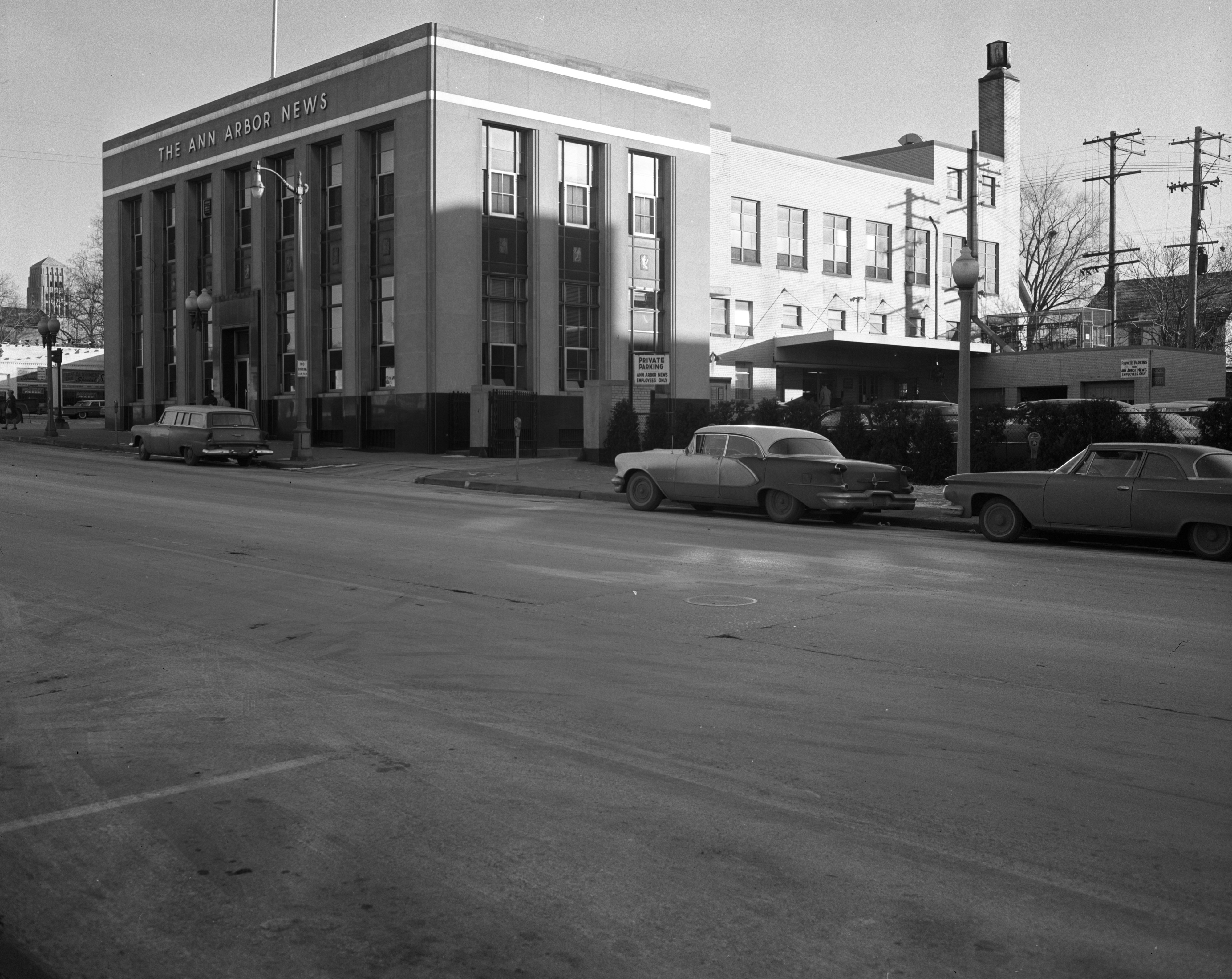 Front and West Side of Ann Arbor News Building, December 1960 image