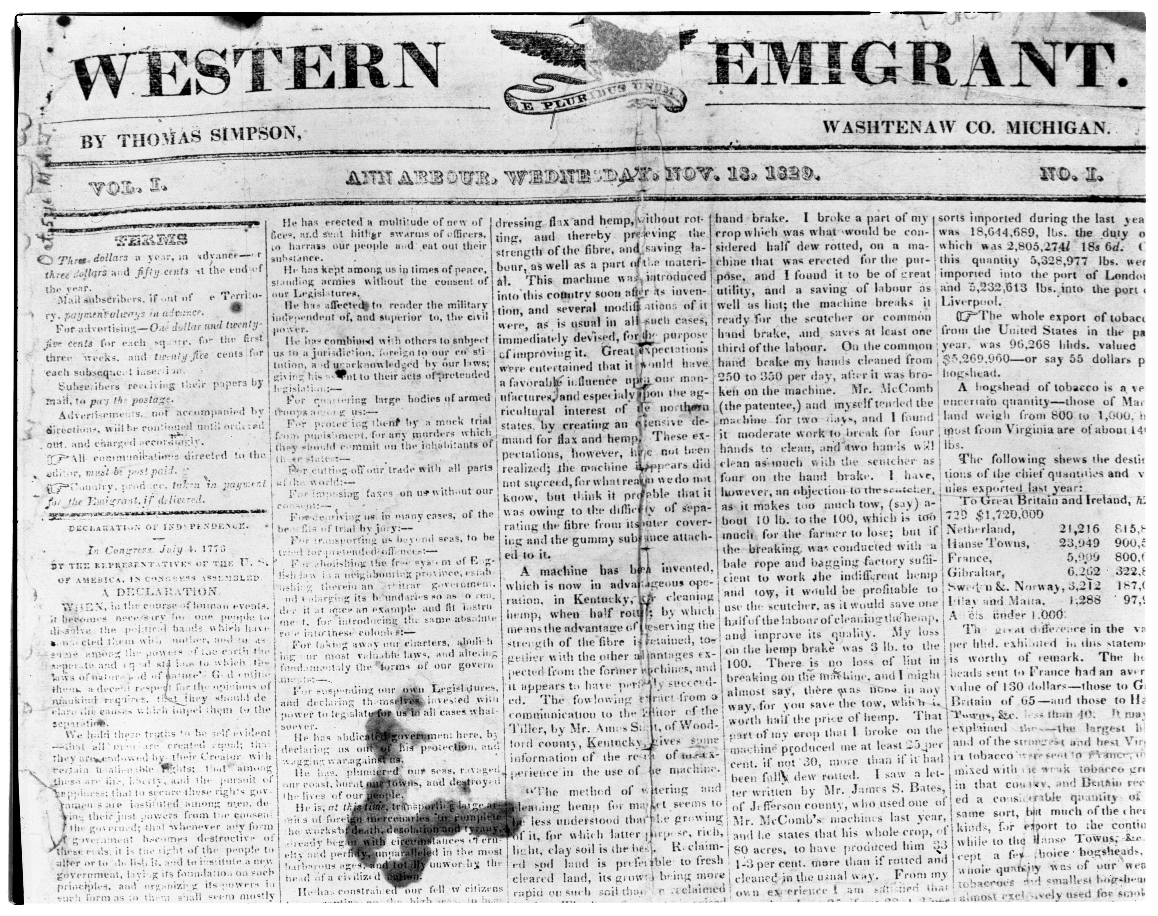 "Copy of the First Issue of the ""Western Emigrant,"" Washtenaw County's First Newspaper, October 1963 image"