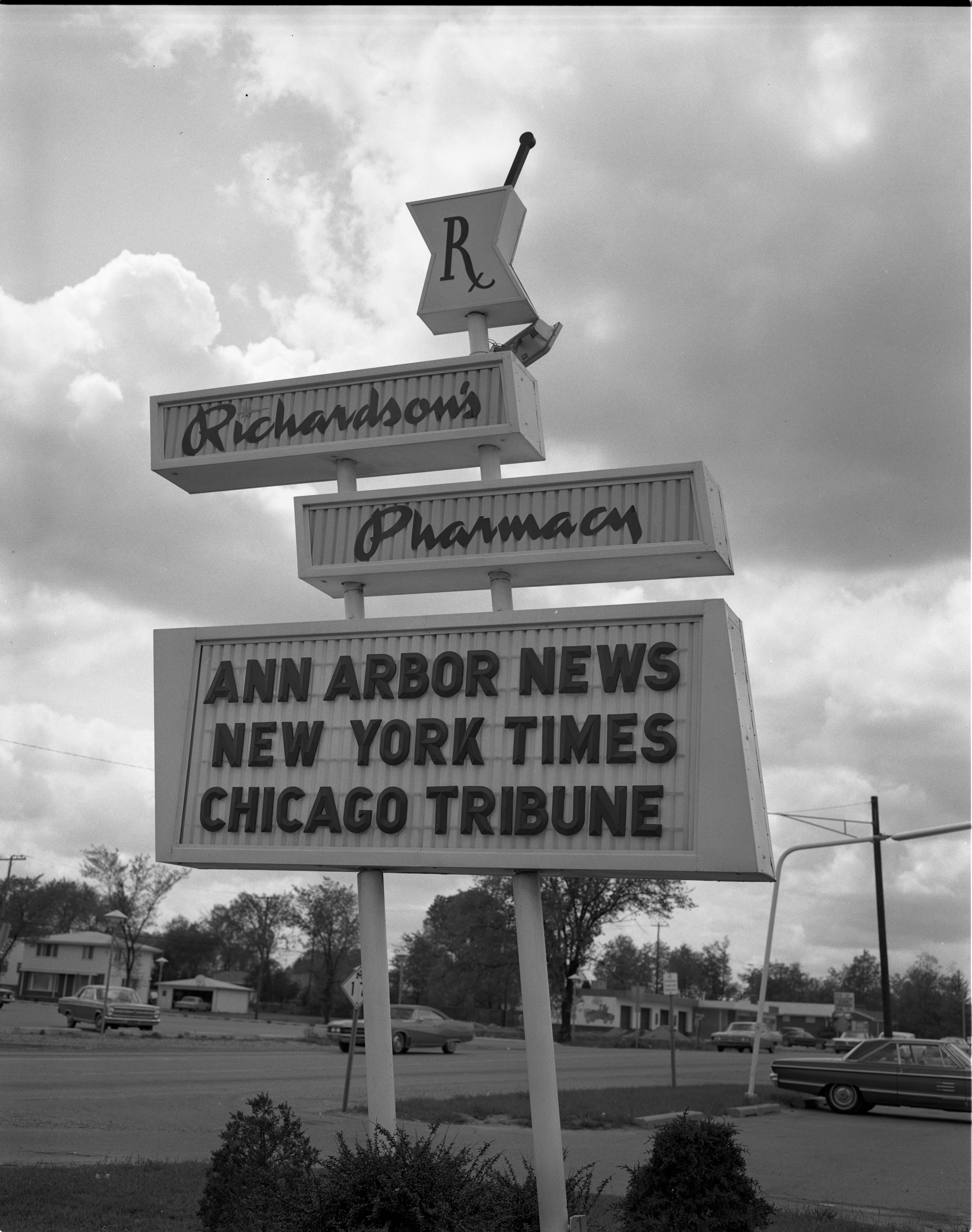 Richardson's Pharmacy Sign On Packard Road, May 1968 image