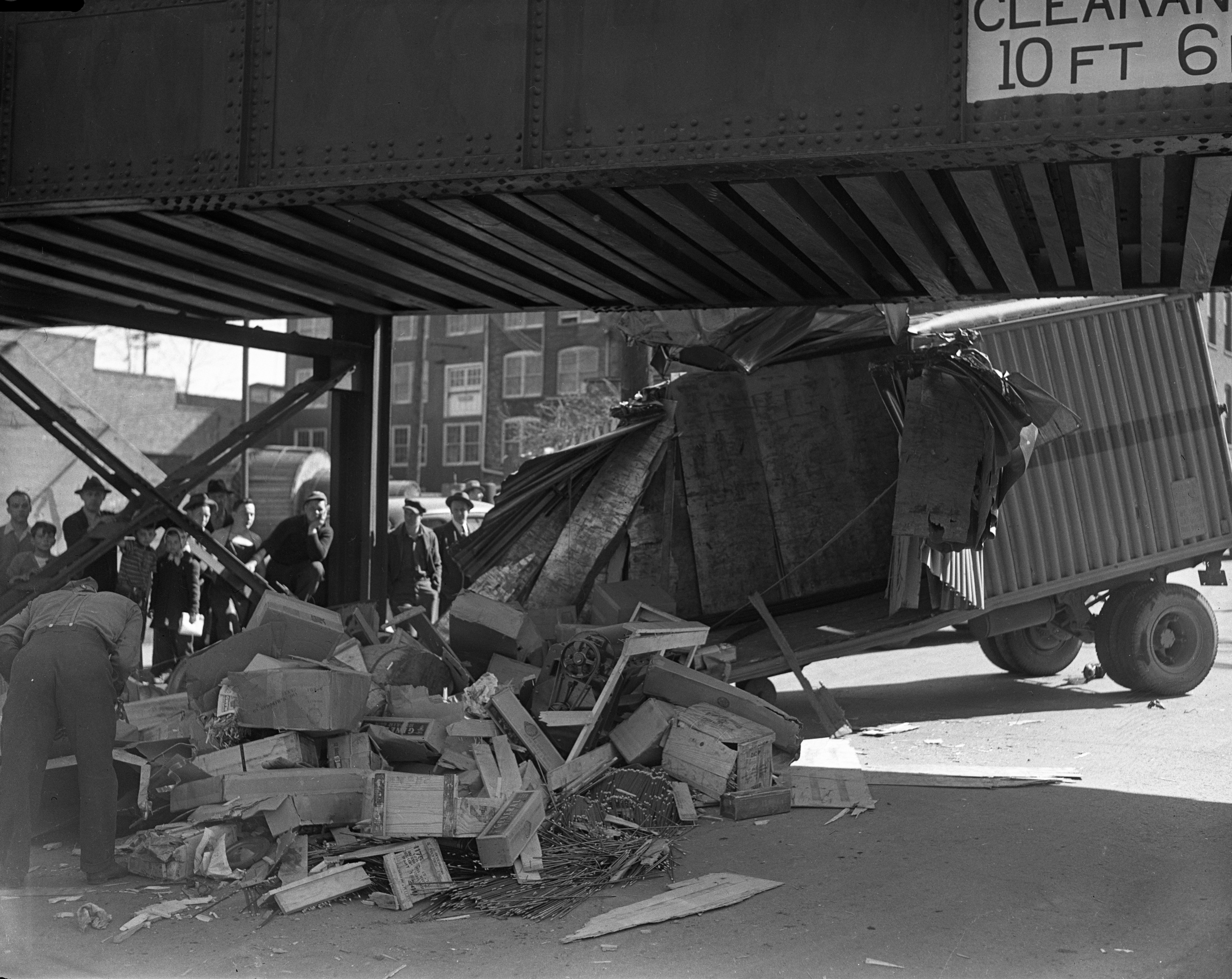 Truck collides with Ann Arbor Railroad viaduct on Washington St., April 25, 1942 image