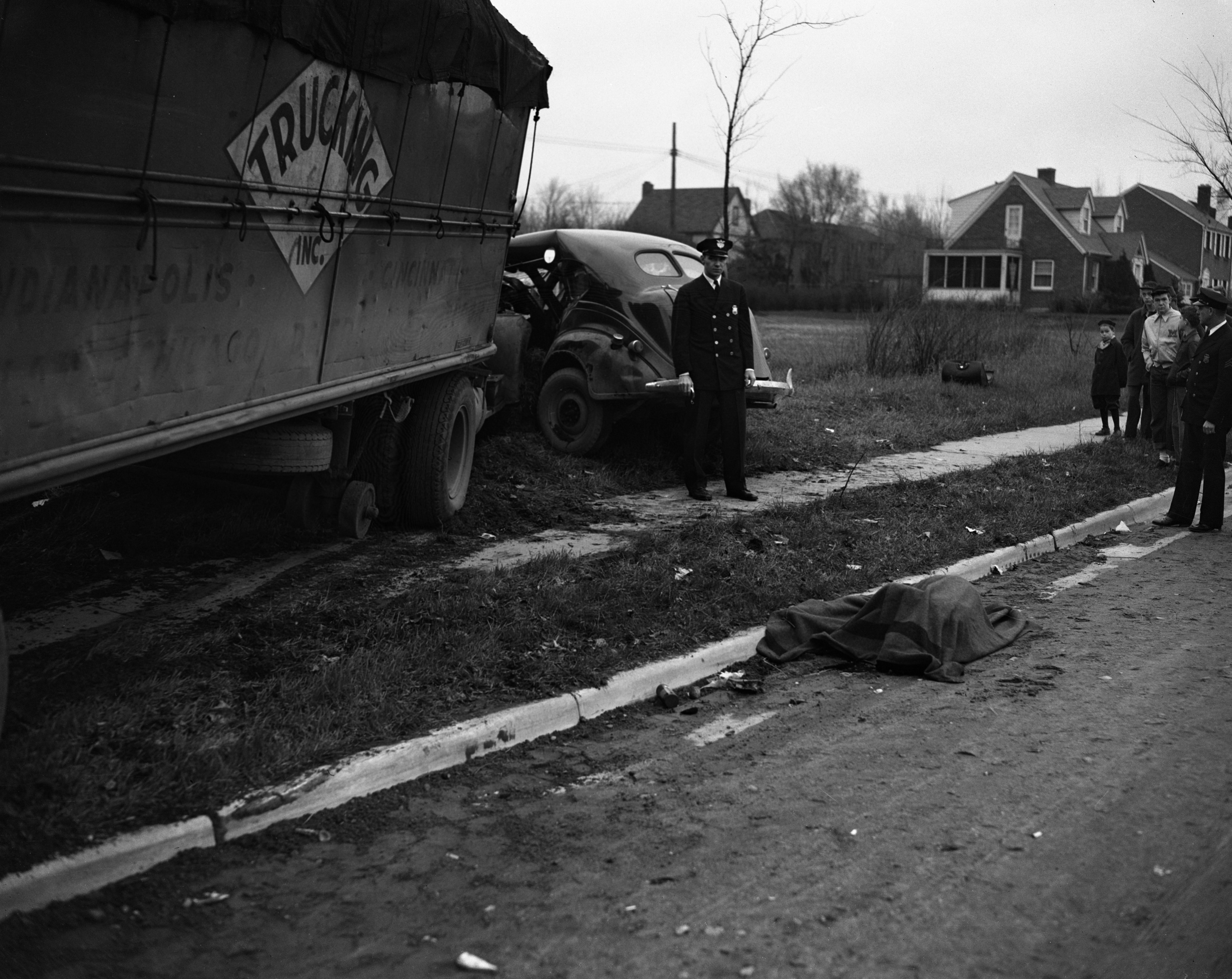 Ann Arbor Police at Scene of Fatal Wreck at Packard and Stadium, April 1944 image