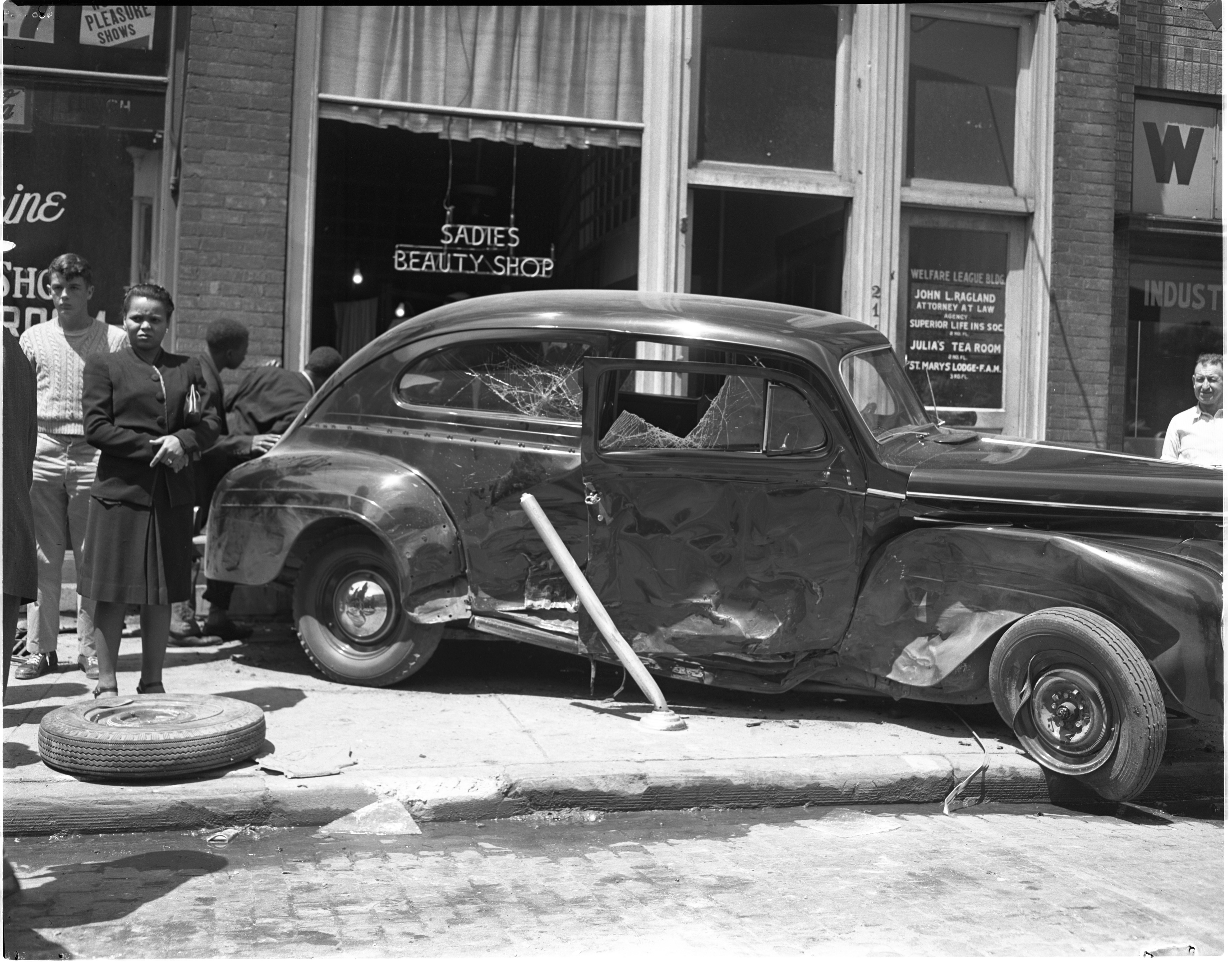 Accident Scene Of Parked Car Hit On N. Fourth Avenue, June 1947 image