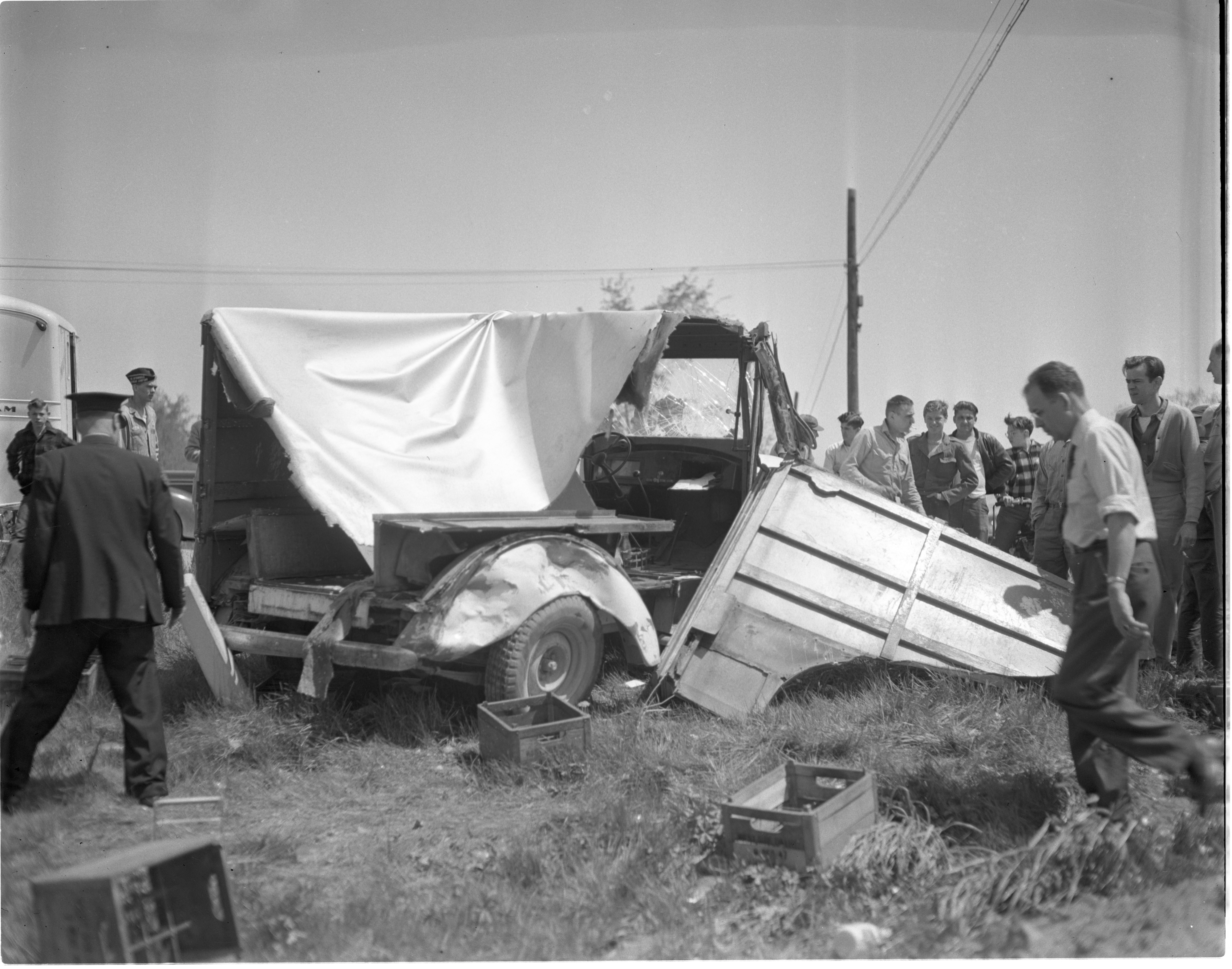 Remains Of West Side Dairy Milk Truck After Being Hit By A Sedan On Jackson Rd At West Delhi, May 1949 image
