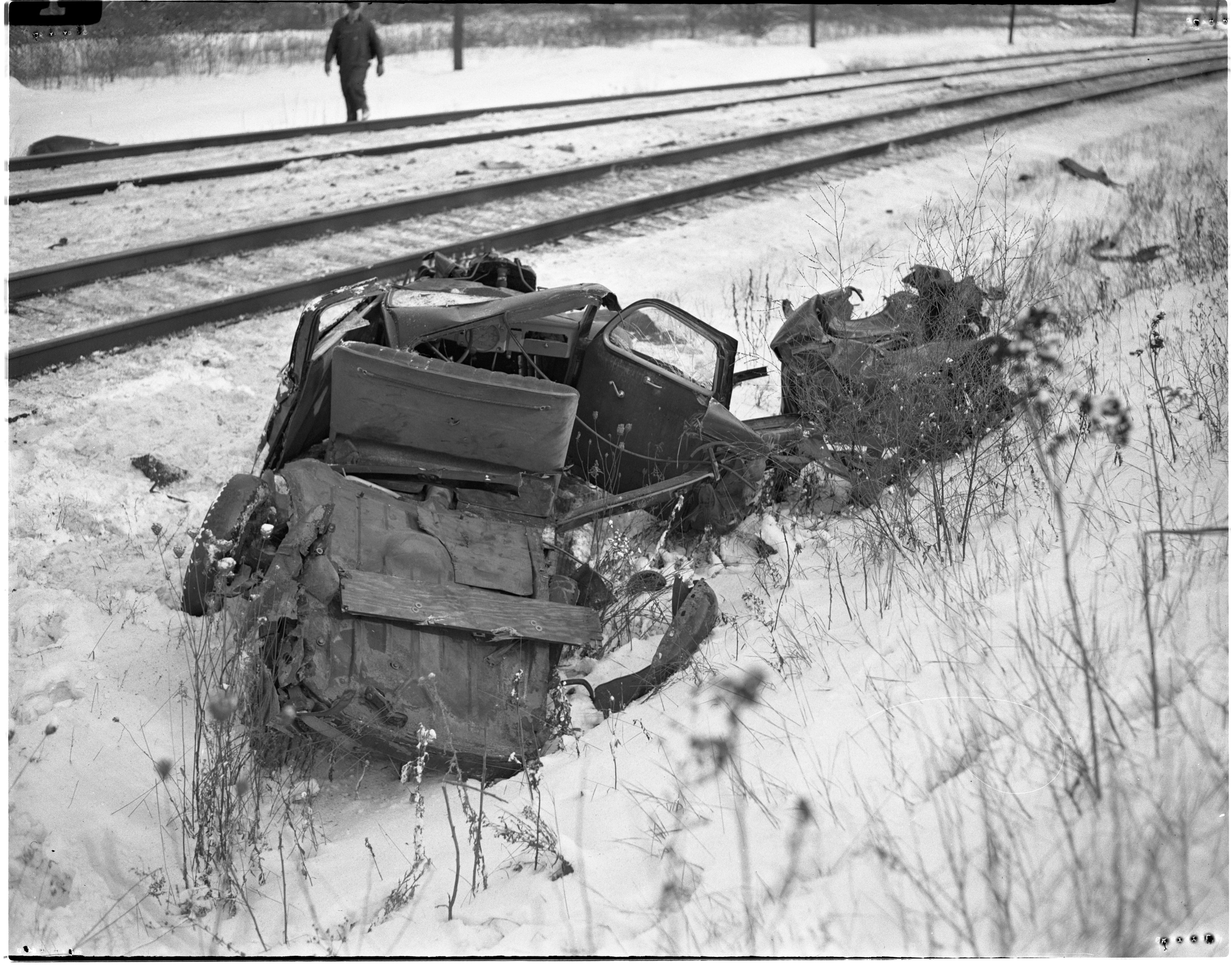 Frederick L. Seyfried's Car Demolished By A Passenger Train, November 1950 image