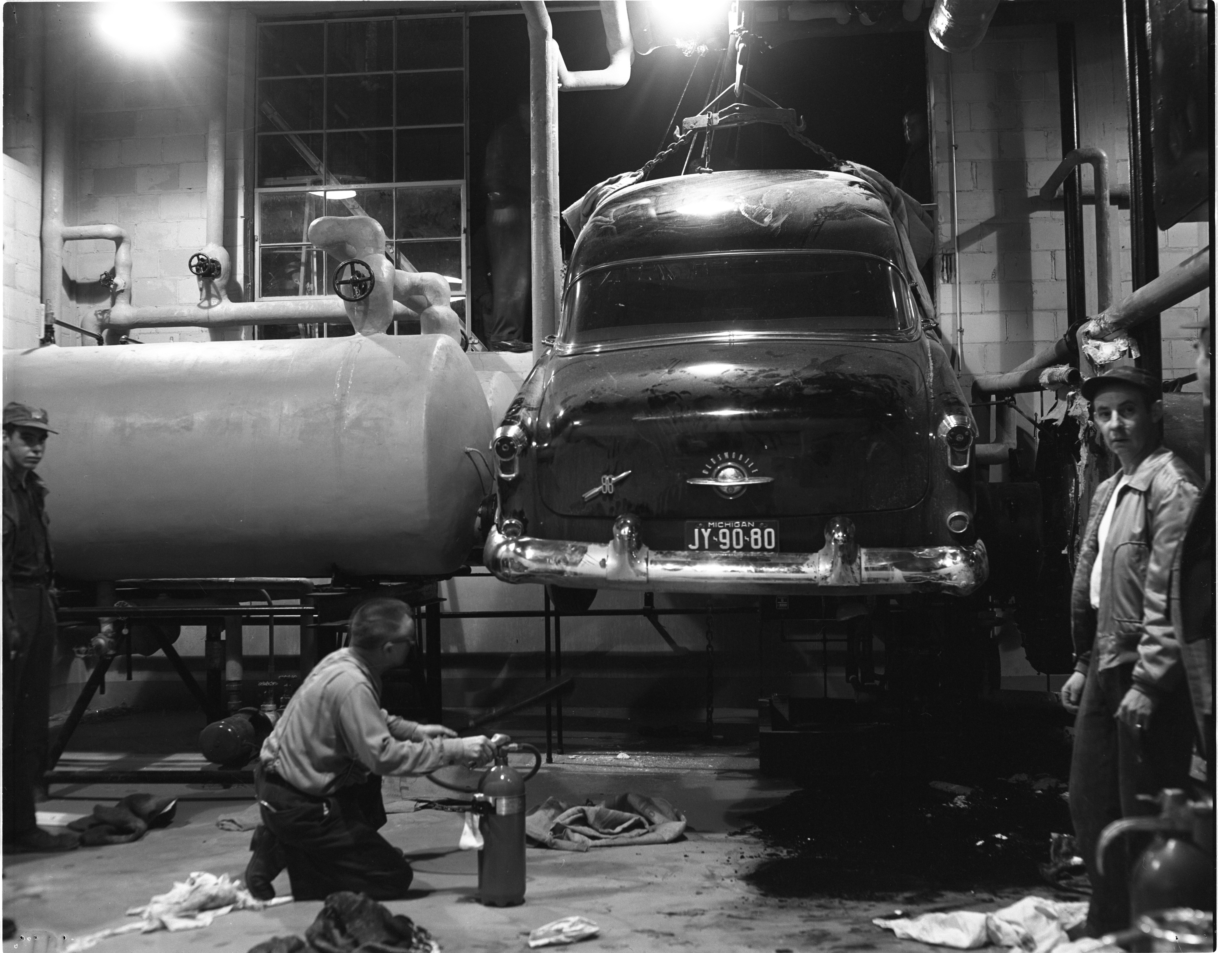 Car Is Removed From Mercywood Hospital Basement, November 1953 image
