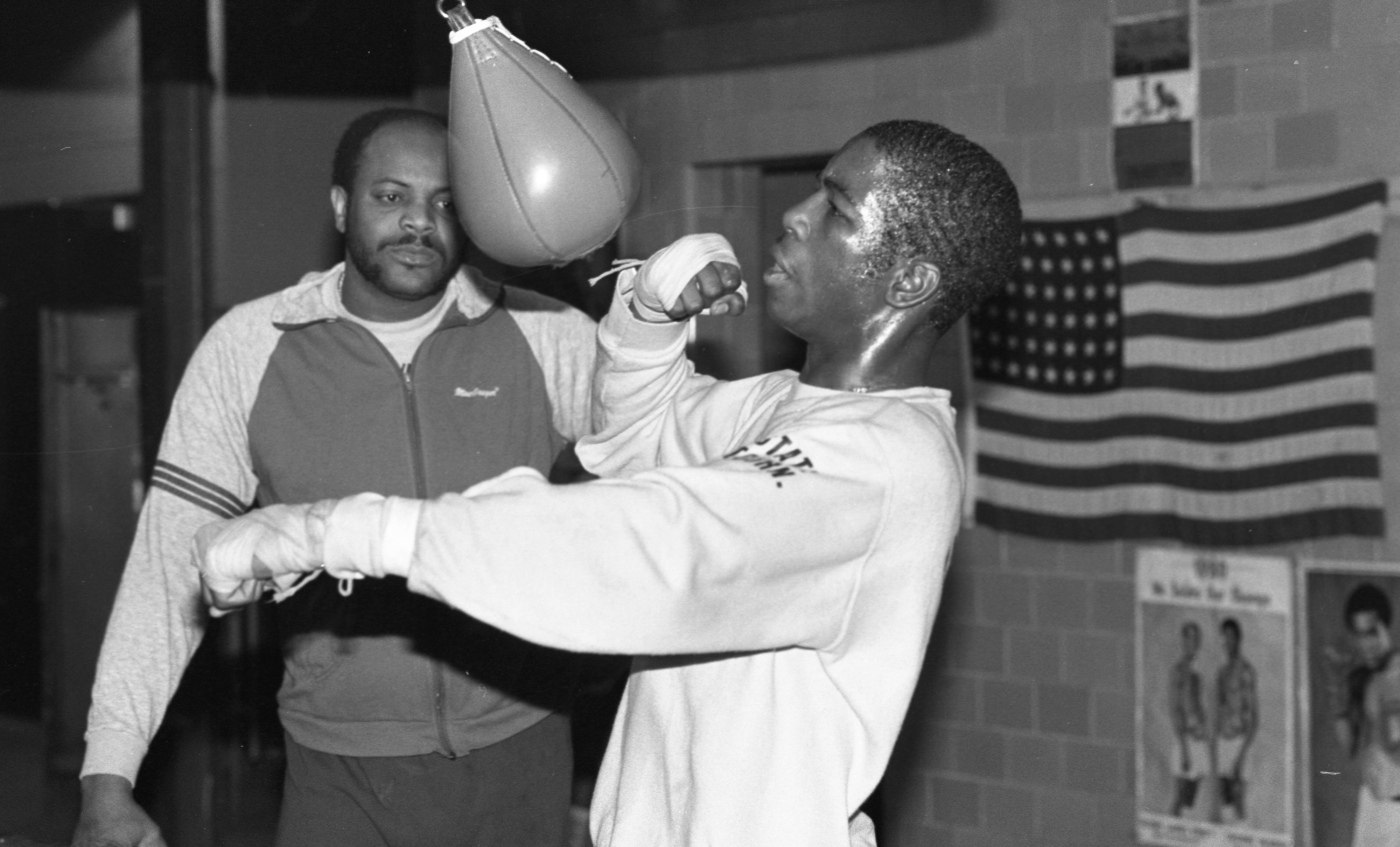 Derrick McGuire, Boxer, Works On The Speed Bag, December 1982 image