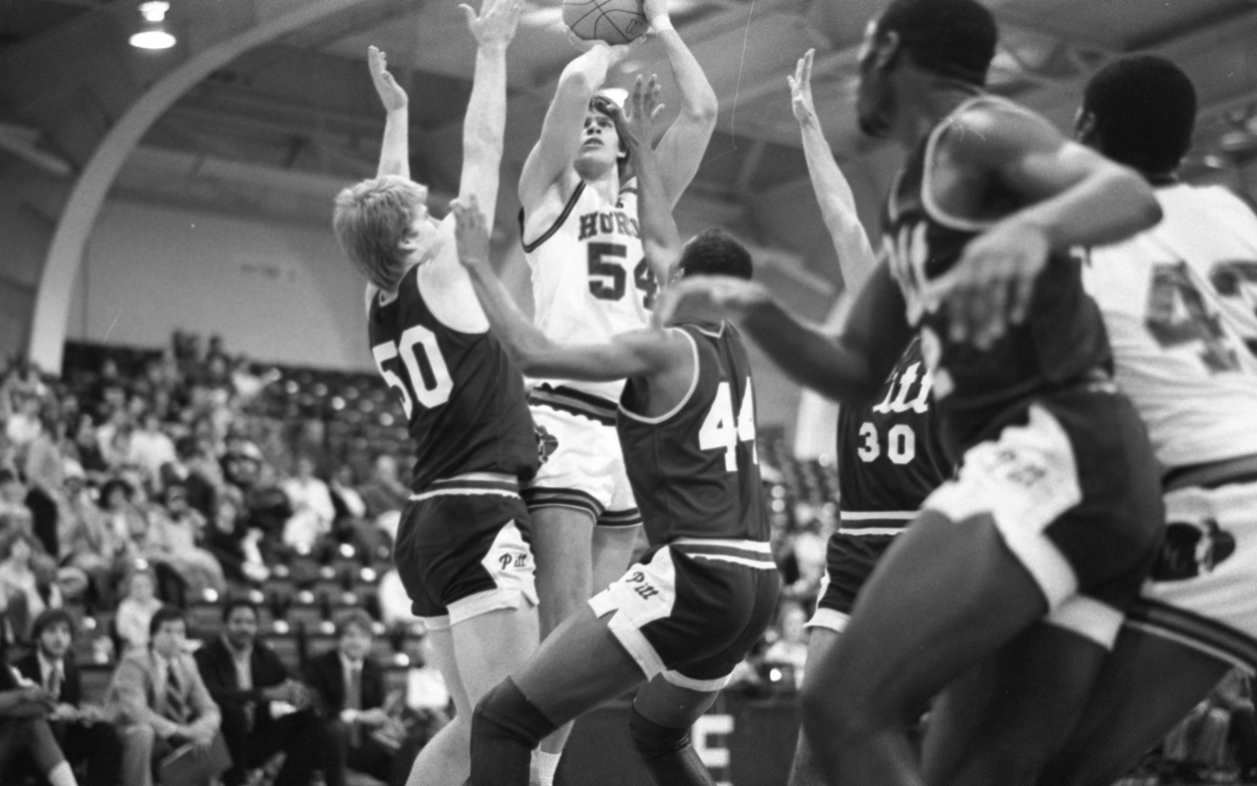 Dave Lazear Takes A Shot At EMU vs University Of Pittsburgh Basketball Game, December 1982 image