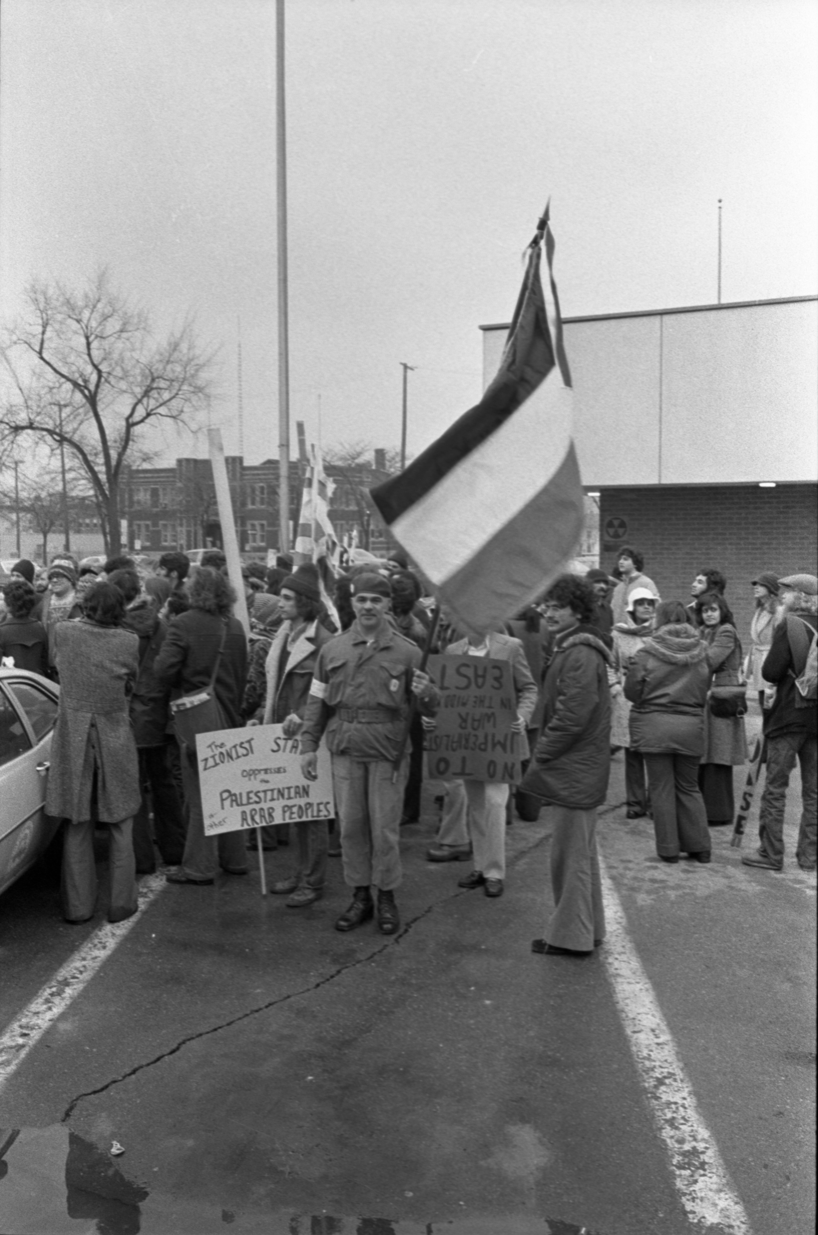 Demonstrators At City Hall In Support Of Arab States, March 1975 image