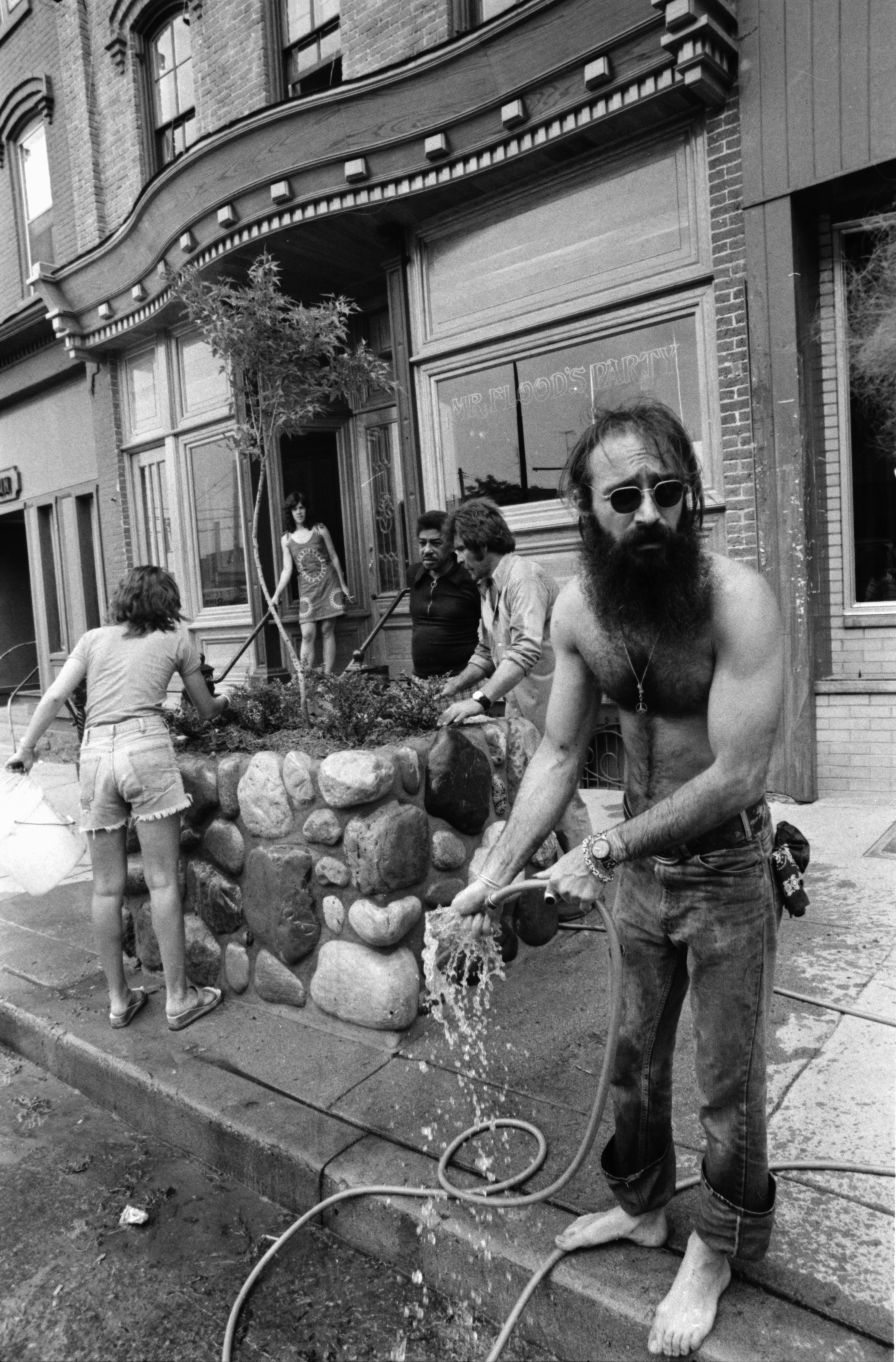 Planters outside of Mr. Flood's Party, July 1975 image
