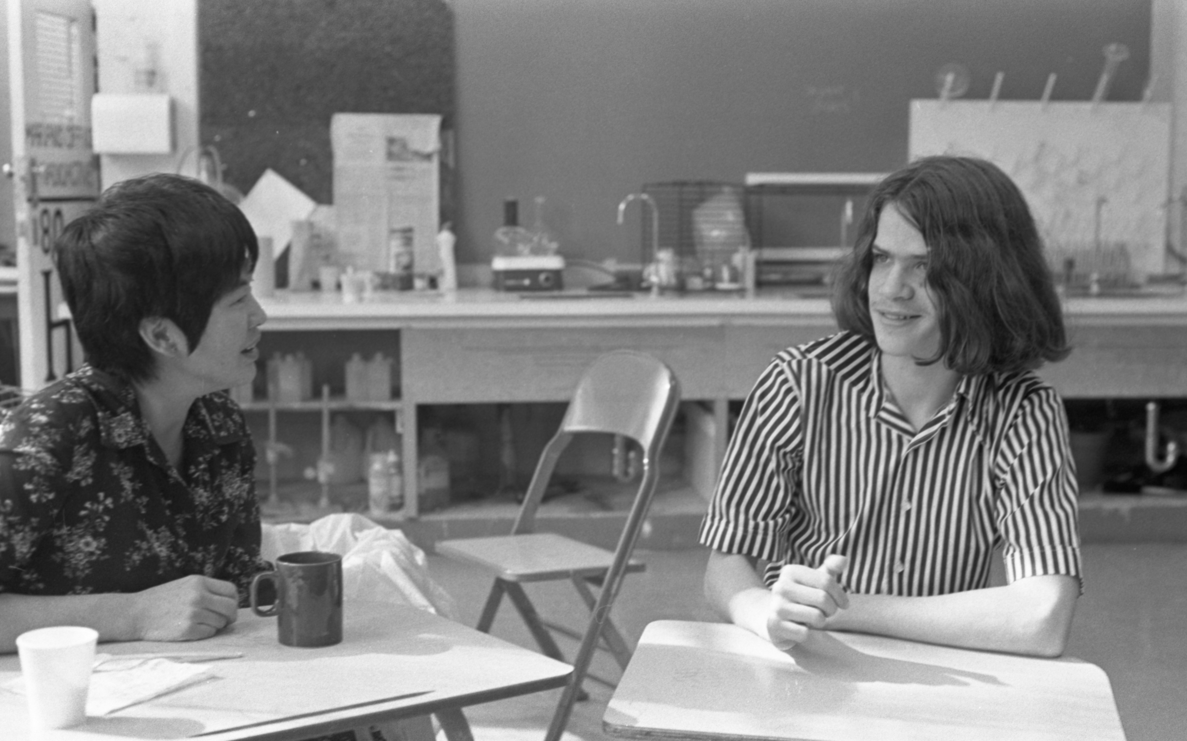 Community High School Teacher Marian Hallada Chats With David Anderson, October 1975 image