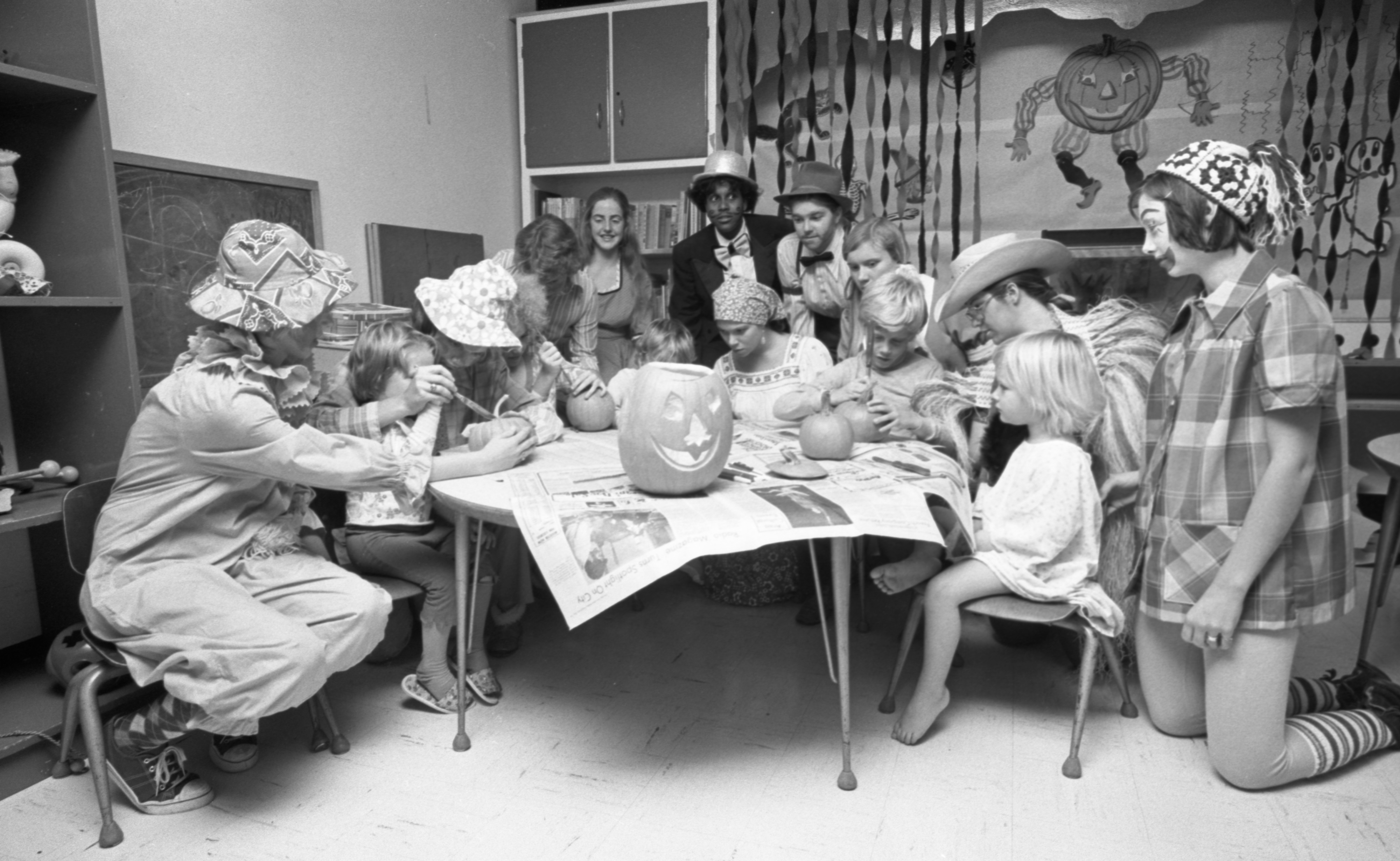 St. Joseph Mercy Hospital Pediatric Patients Celebrate Halloween With Girl Scout Troop 139, October 1975 image