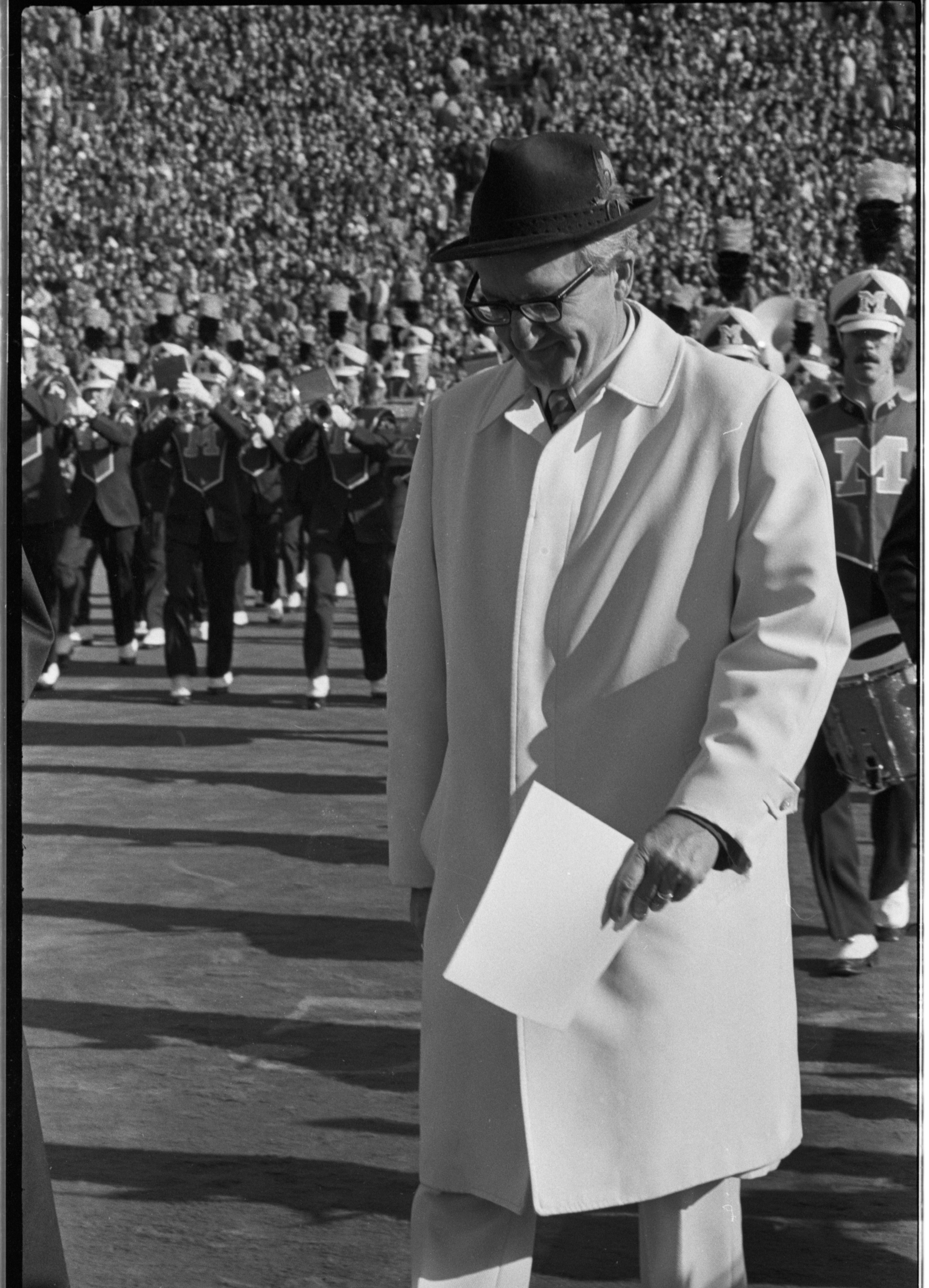 Bob Ufer Accepts Media Hall of Fame Honors at Halftime of Michigan - Ohio State Game, November 1975 image