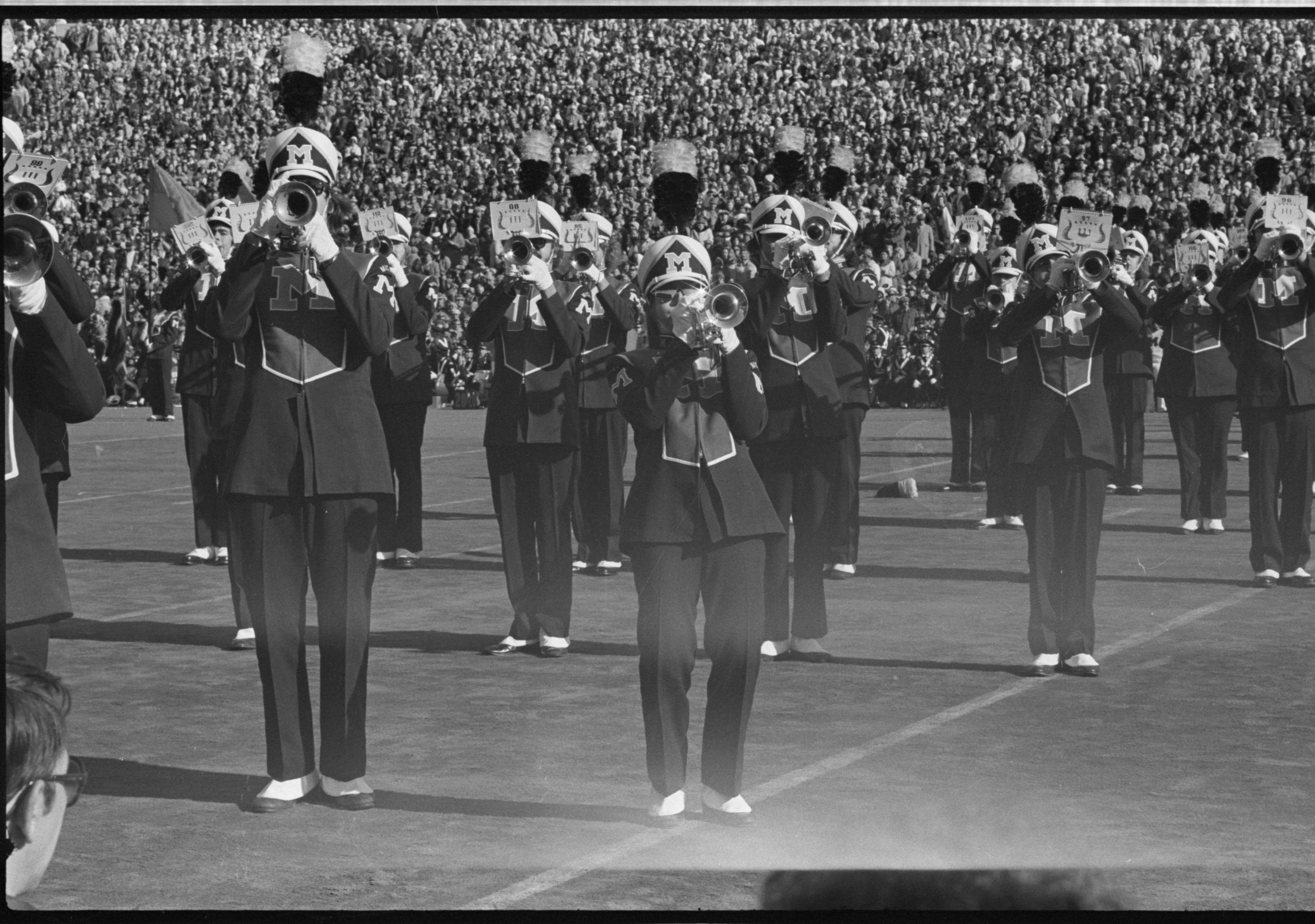 Michigan Marching Band Honors Bob Ufer at Michigan - Ohio State Game, November 1975 image