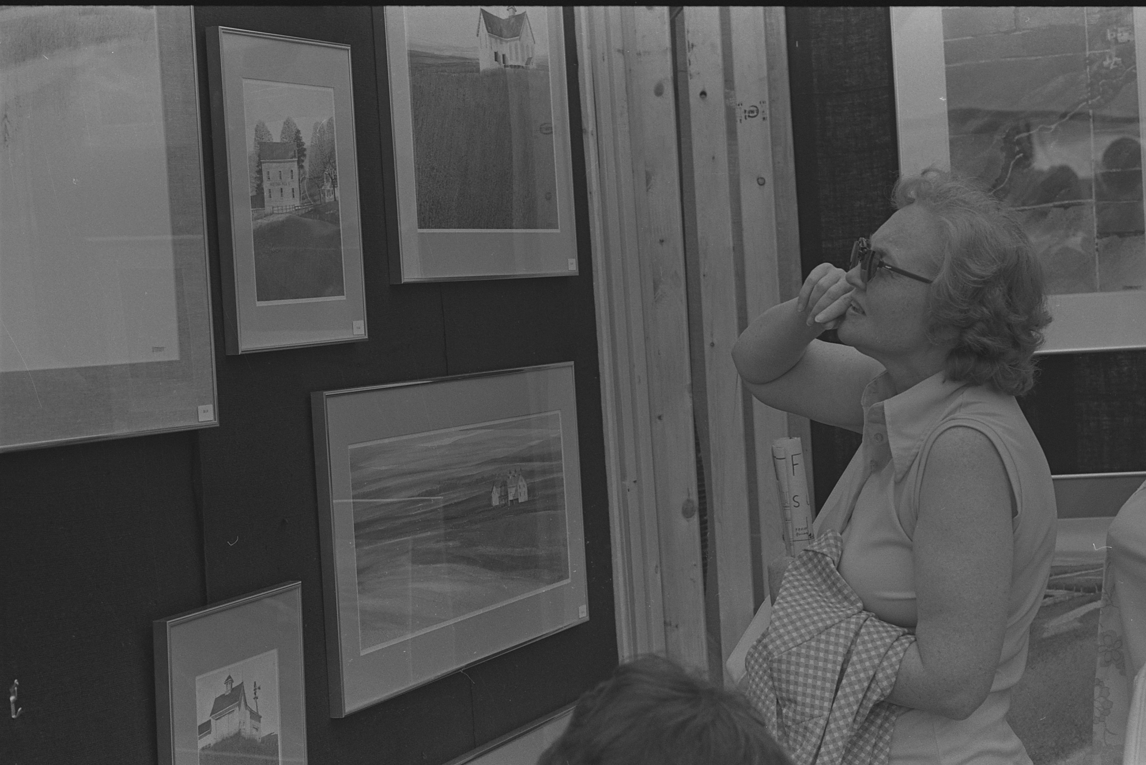 Woman Looks At Paintings At The Ann Arbor Art Fair, July 22, 1976 image