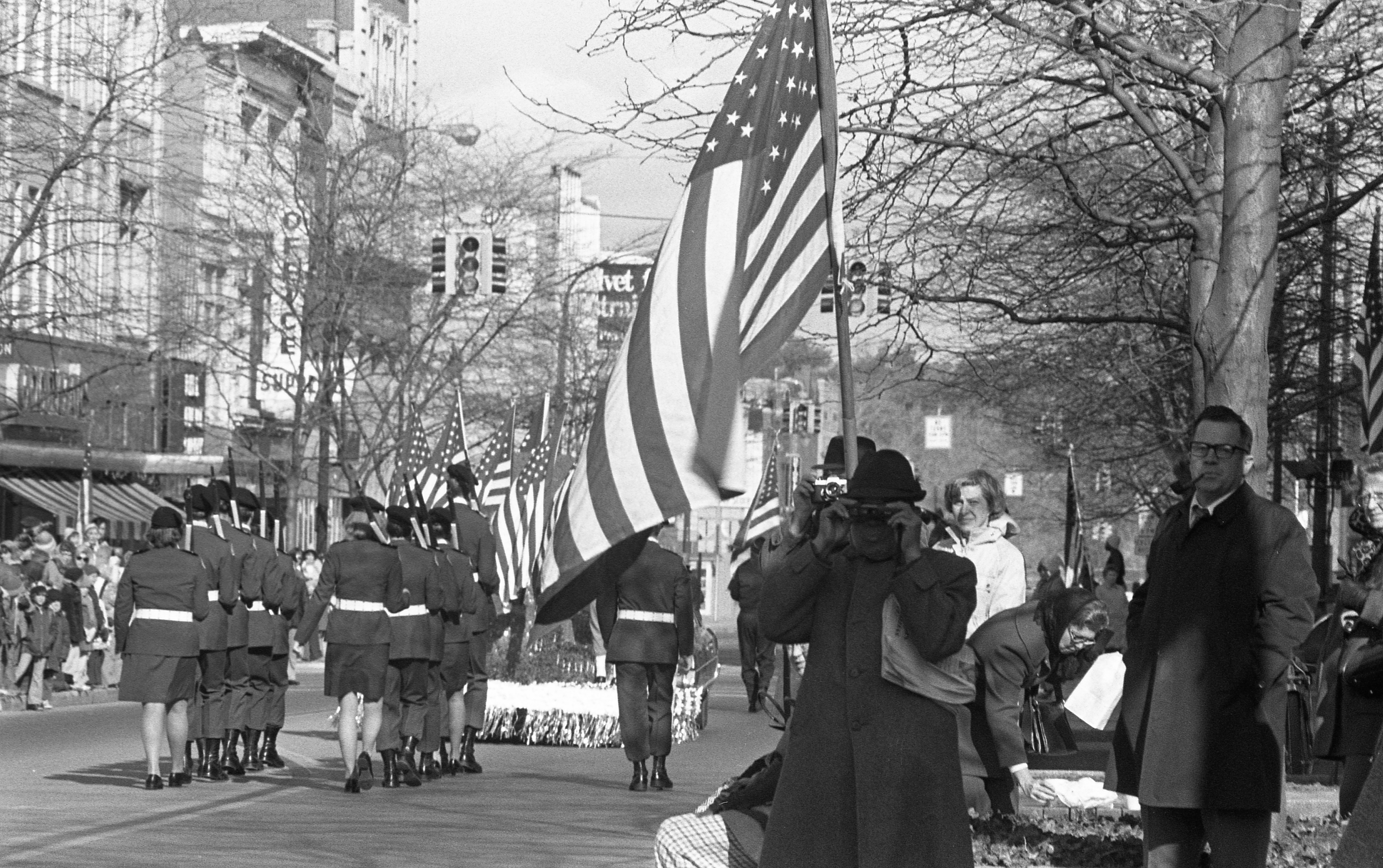 American Legion Post 322, Saline, Marches Past In The Ann Arbor Veterans Day Parade - November 11, 1976 image