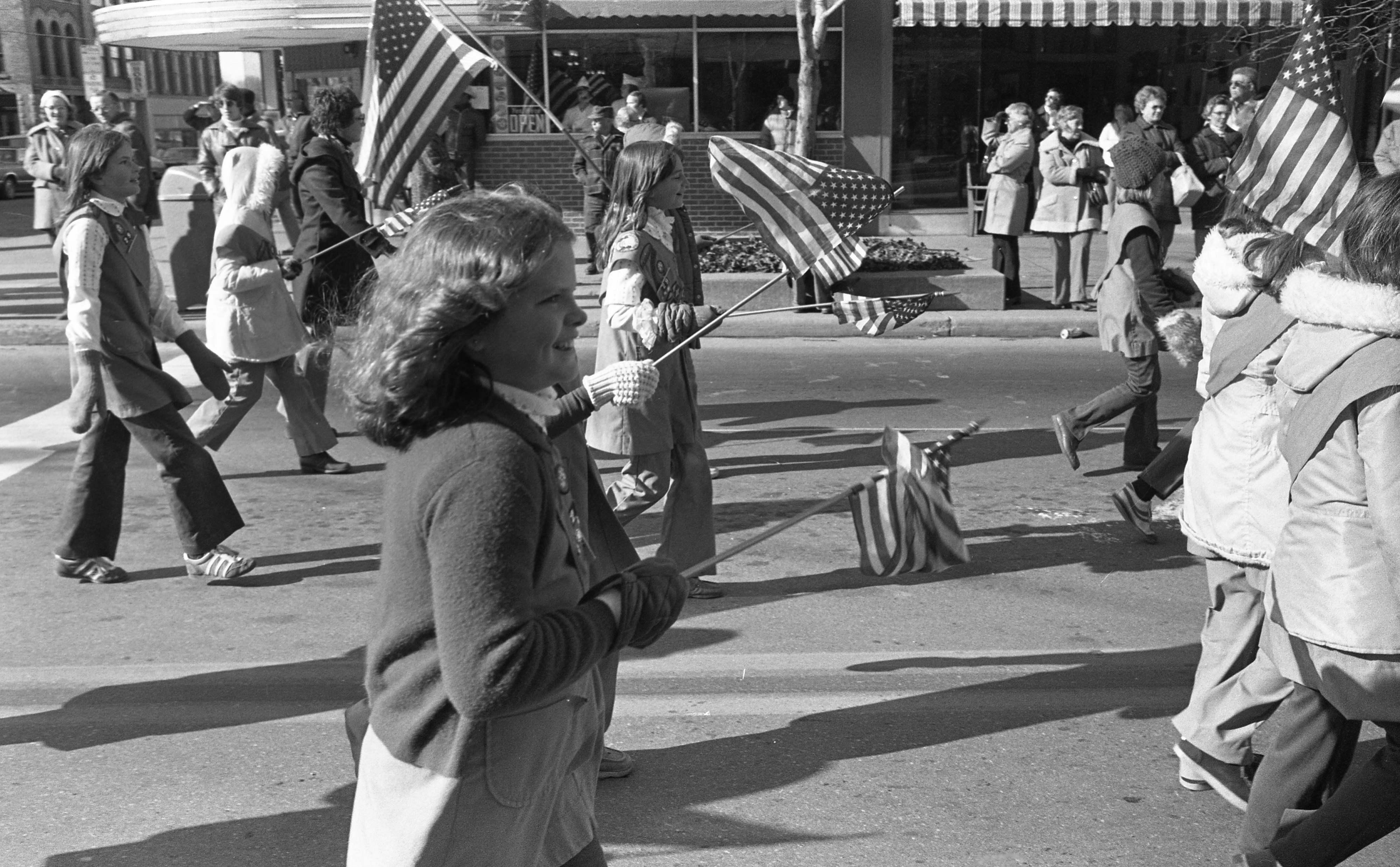 Girl Scouts March Down Main Street In The Ann Arbor Veterans Day Parade - November 11, 1976 image