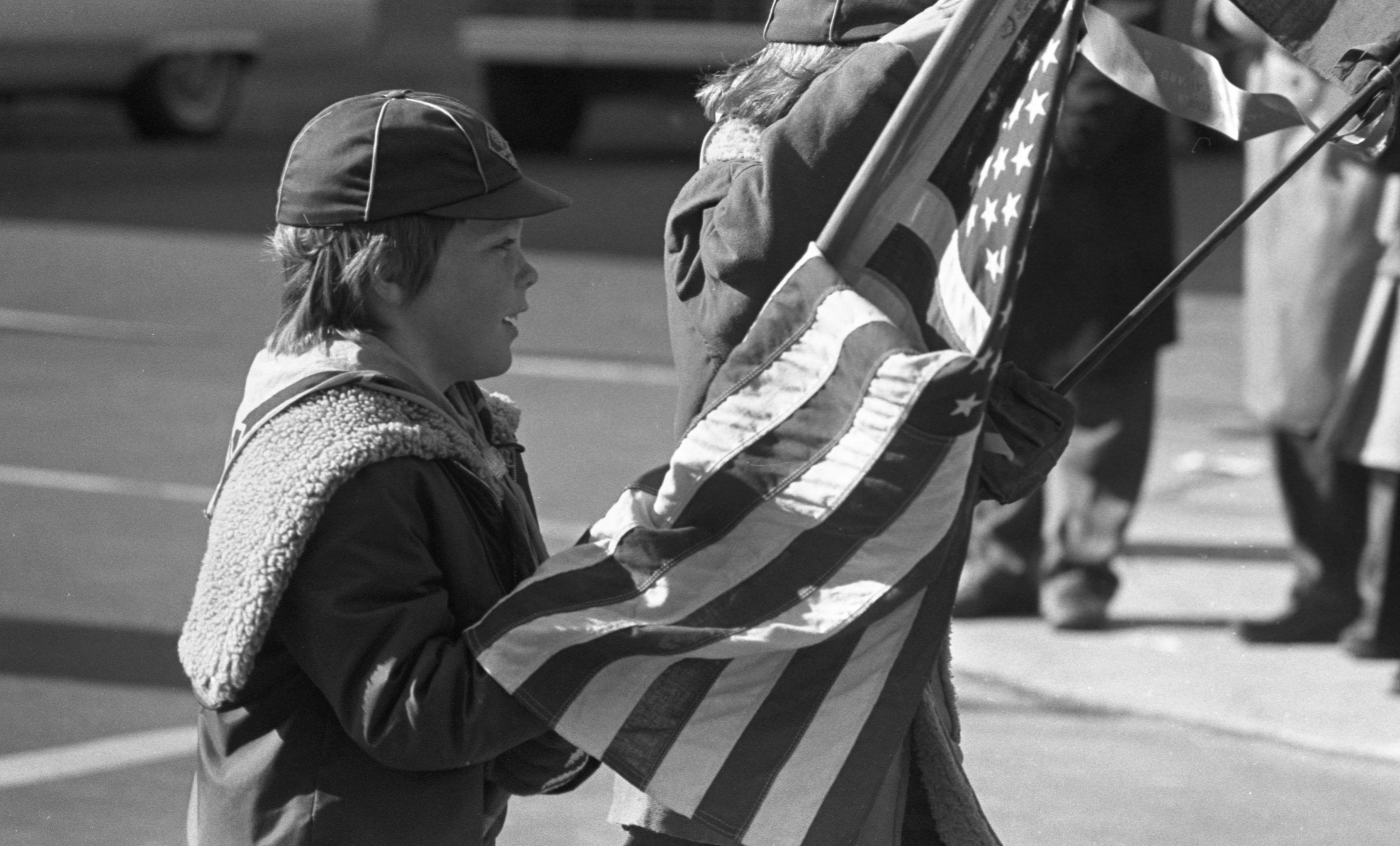 Boy Scouts March In The Ann Arbor Veterans Day Parade - November 11, 1976 image