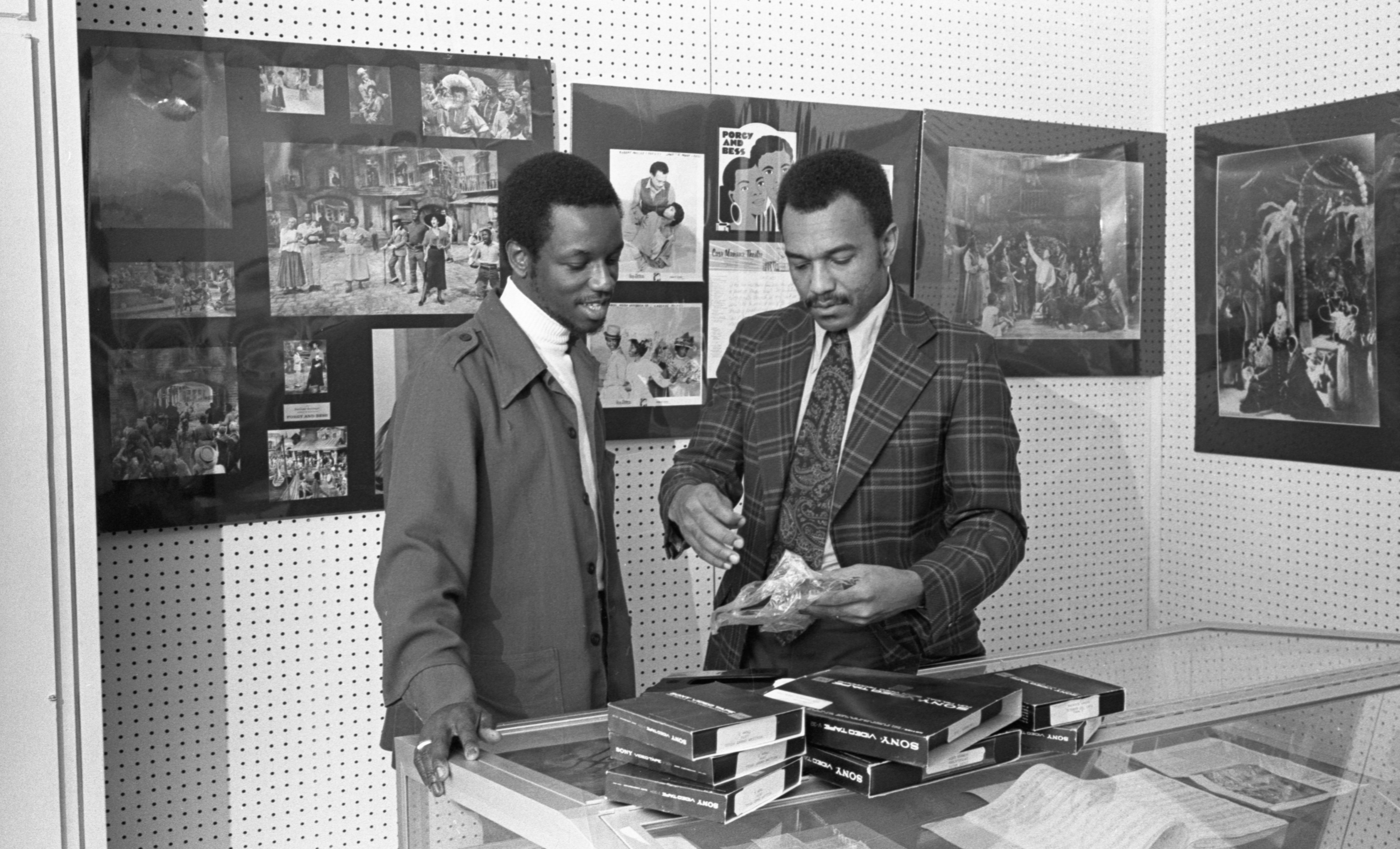 George Young & Jim Standifer With Eva Jessye Tapes In The University Of Michigan Afro-American Music Collection, December 1976 image