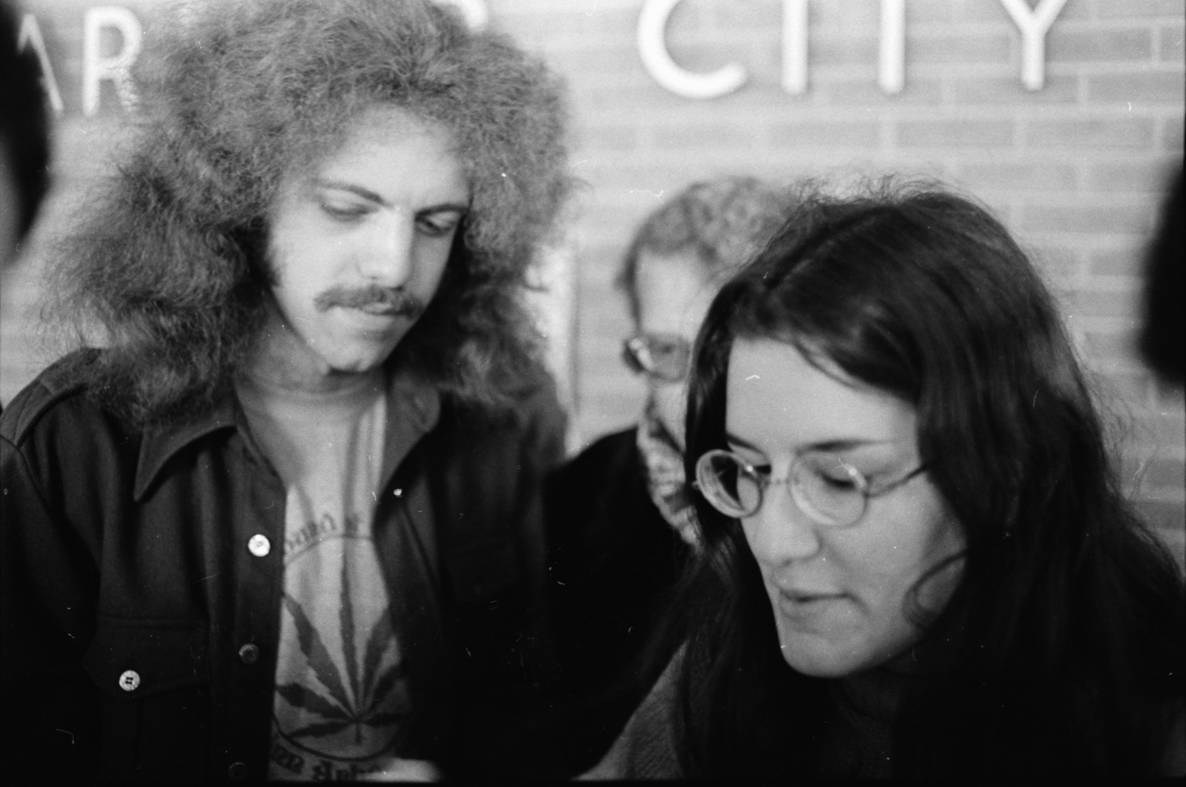County Commissioner Catherine McClary and David Fenton at Drawing for Free Pot Giveaway, Ann Arbor City Hall, January 1975 image